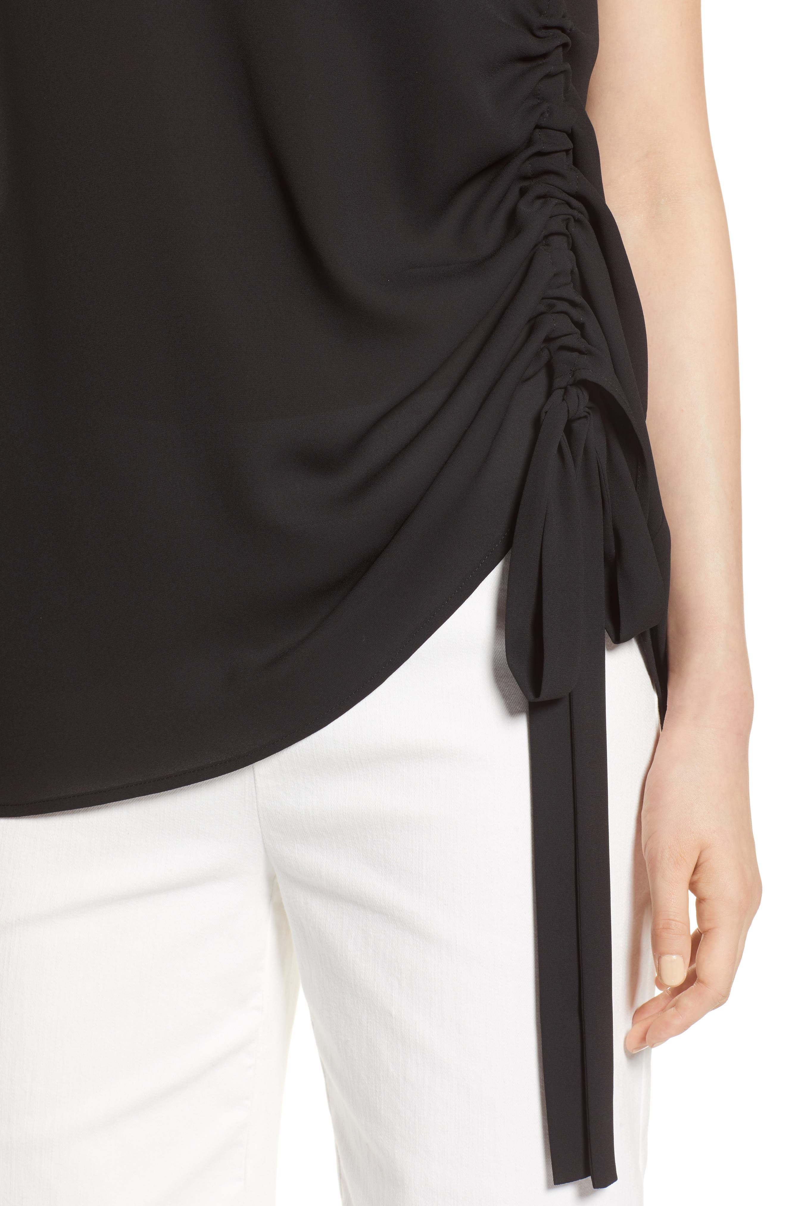 Side Ruched Top,                             Alternate thumbnail 4, color,                             Black