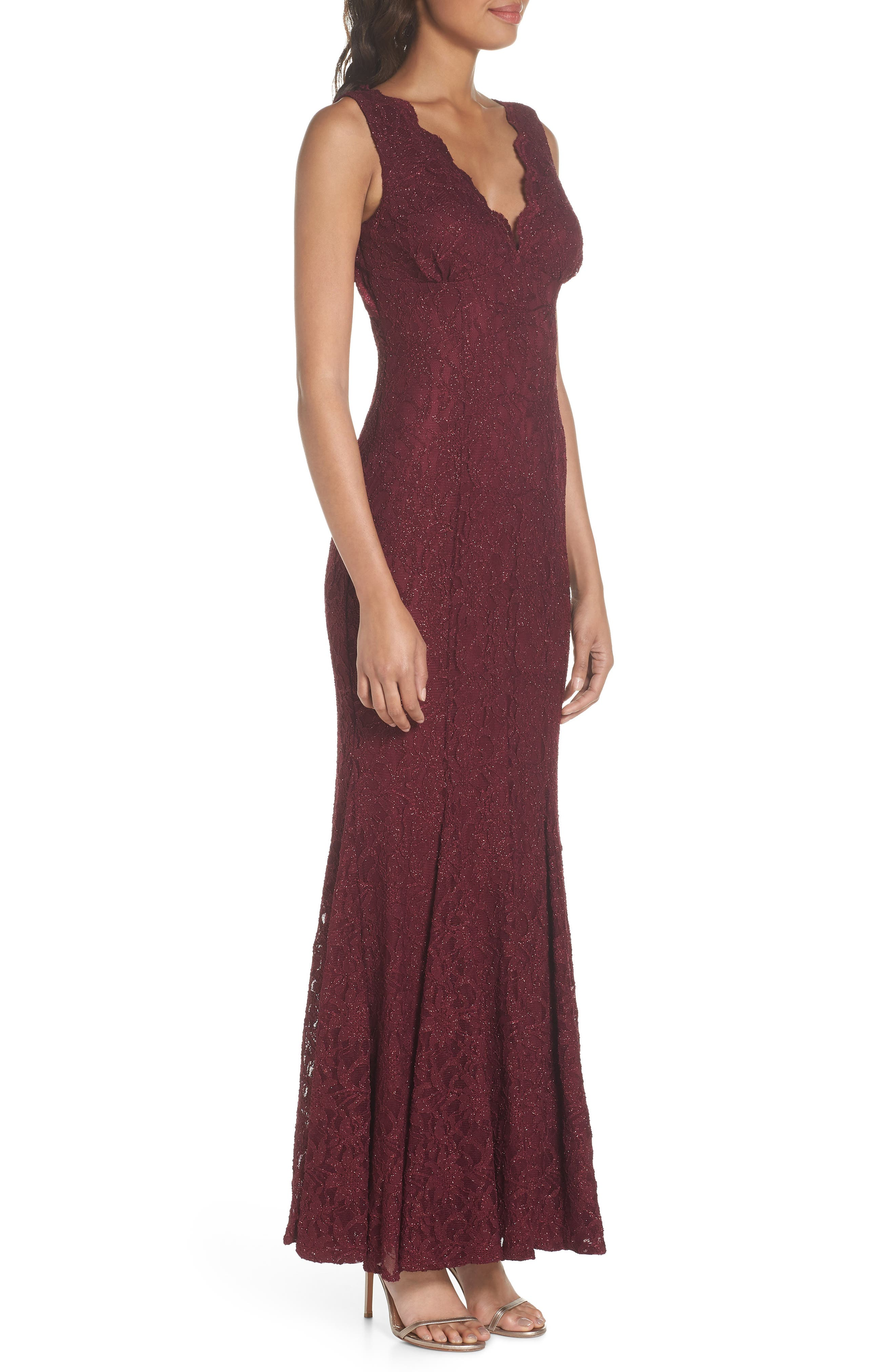 Glitter Lace Gown,                             Alternate thumbnail 3, color,                             Merlot