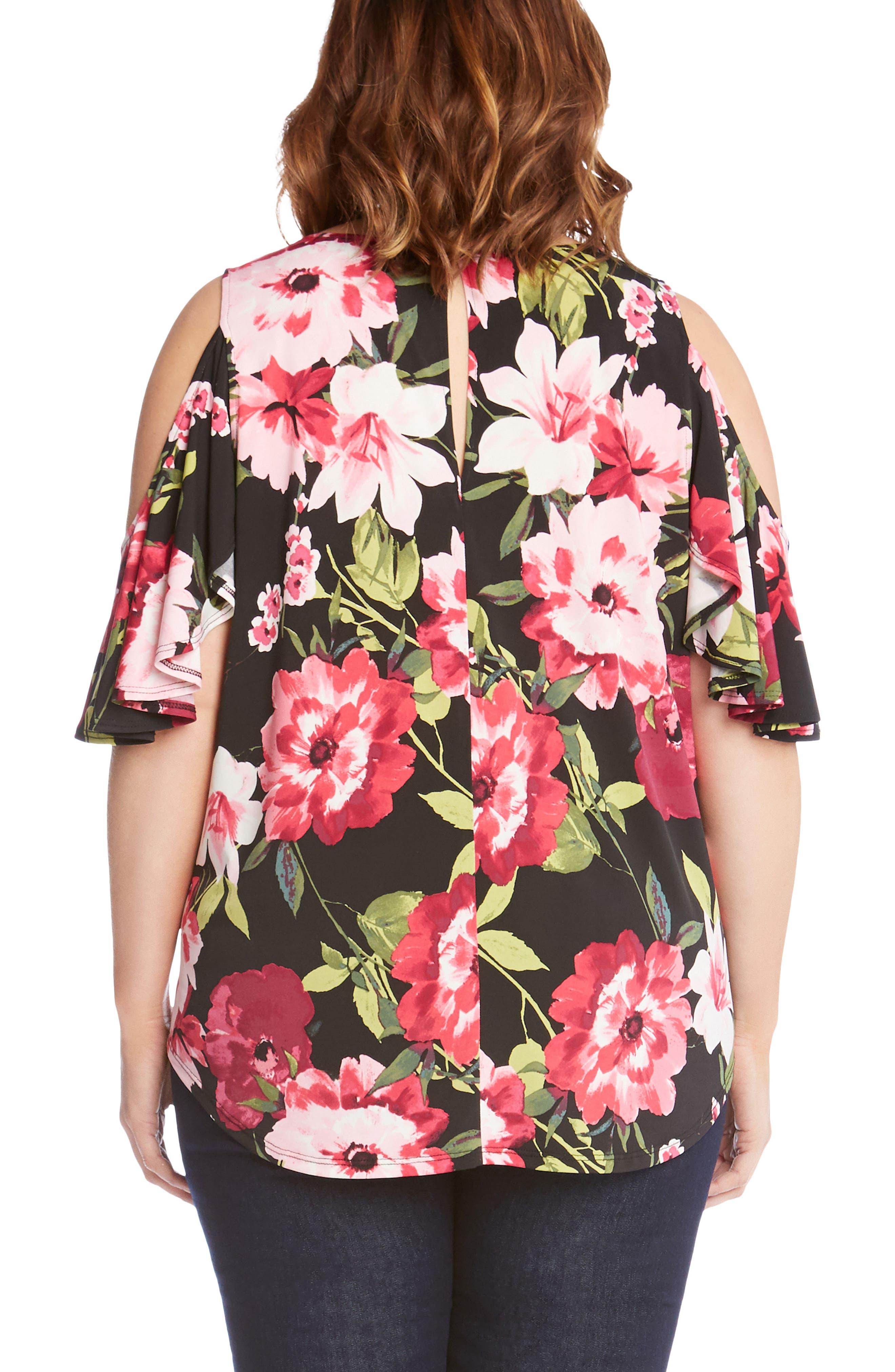 Ruffle Sleeve Floral Cold Shoulder Top,                             Alternate thumbnail 2, color,                             Flower