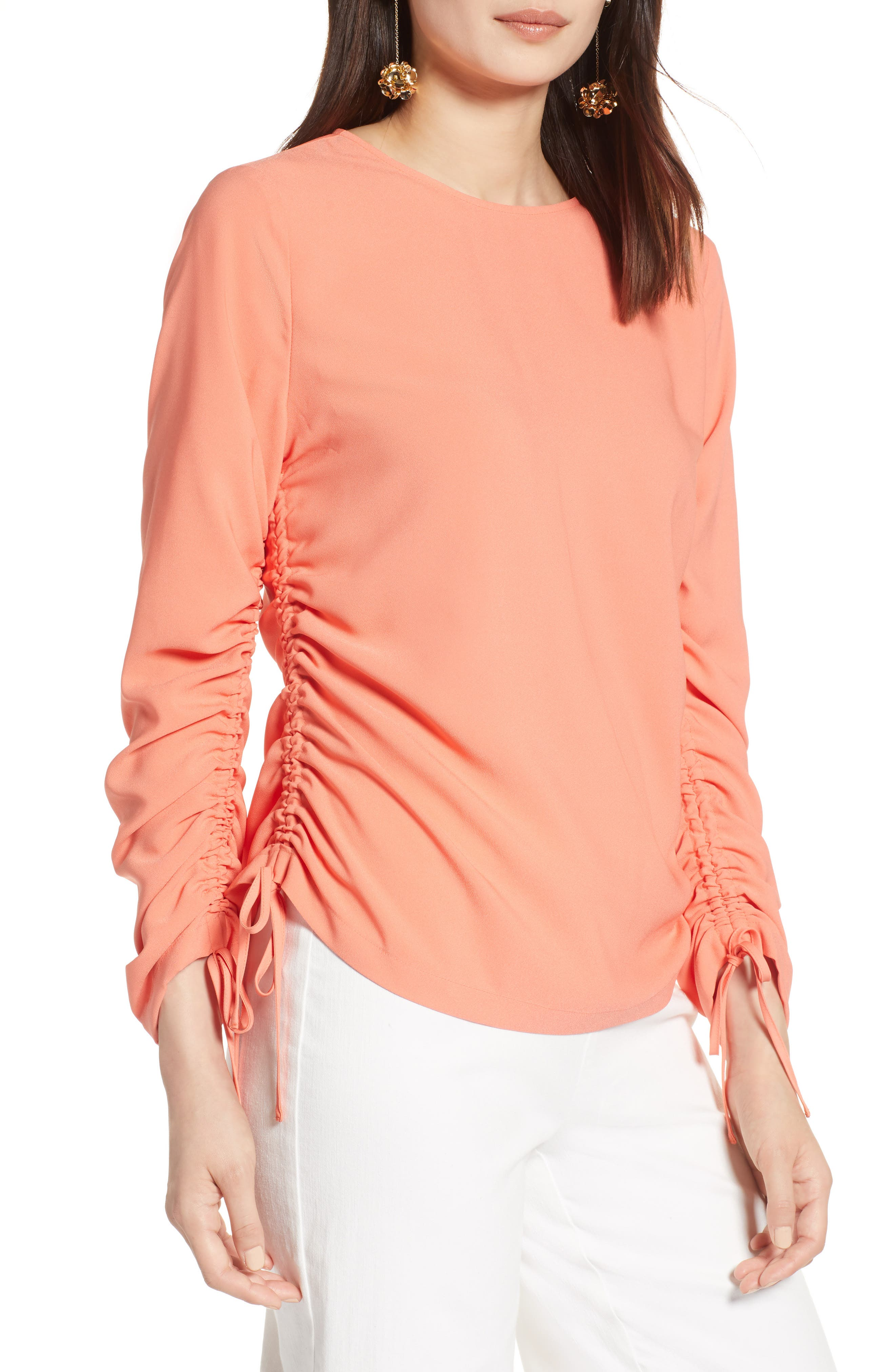 Cinched Sleeve Blouse,                             Main thumbnail 1, color,                             Coral Ocean