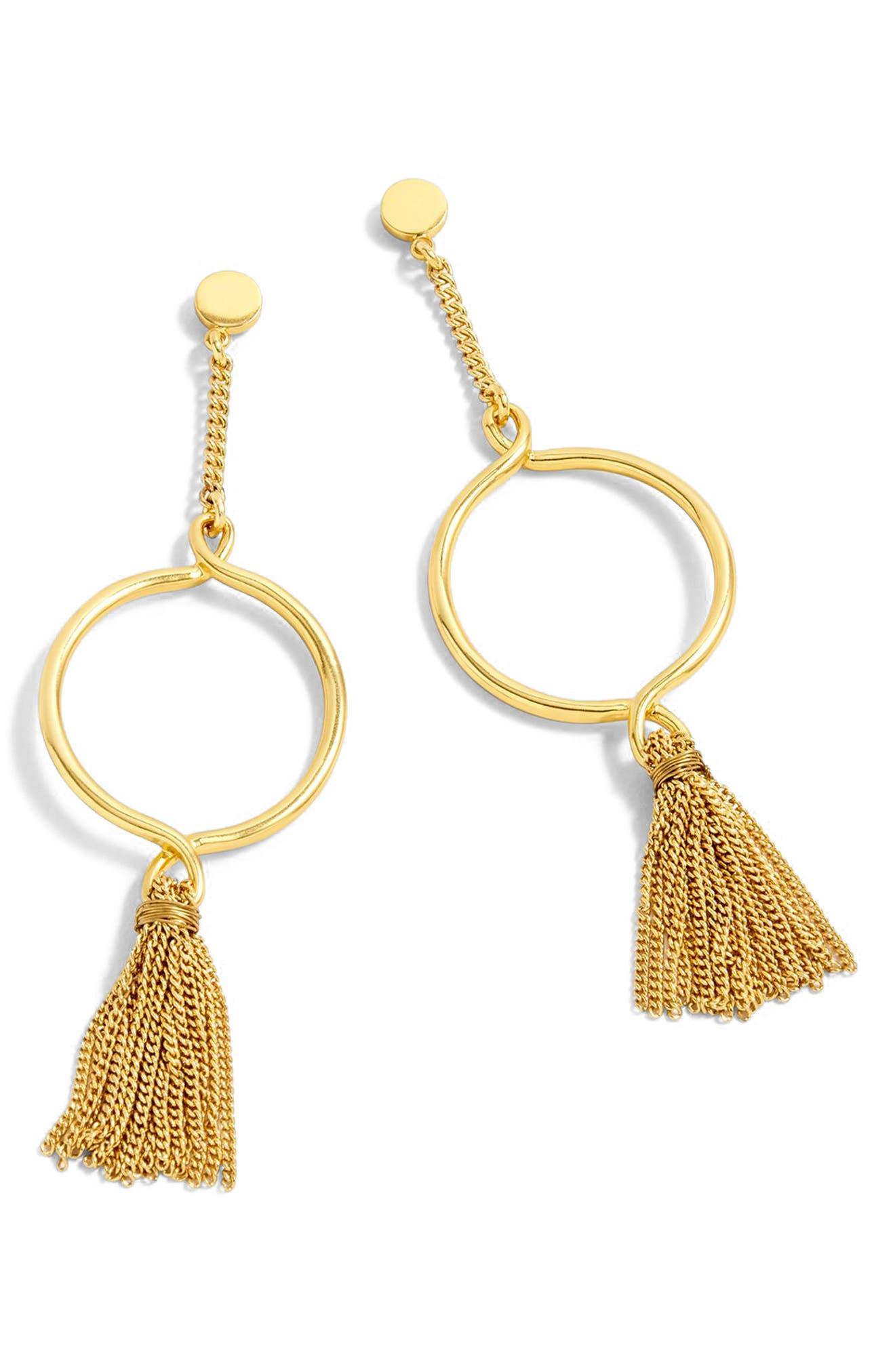 Hanging Hoop Broom Earrings,                         Main,                         color, Burnished Gold