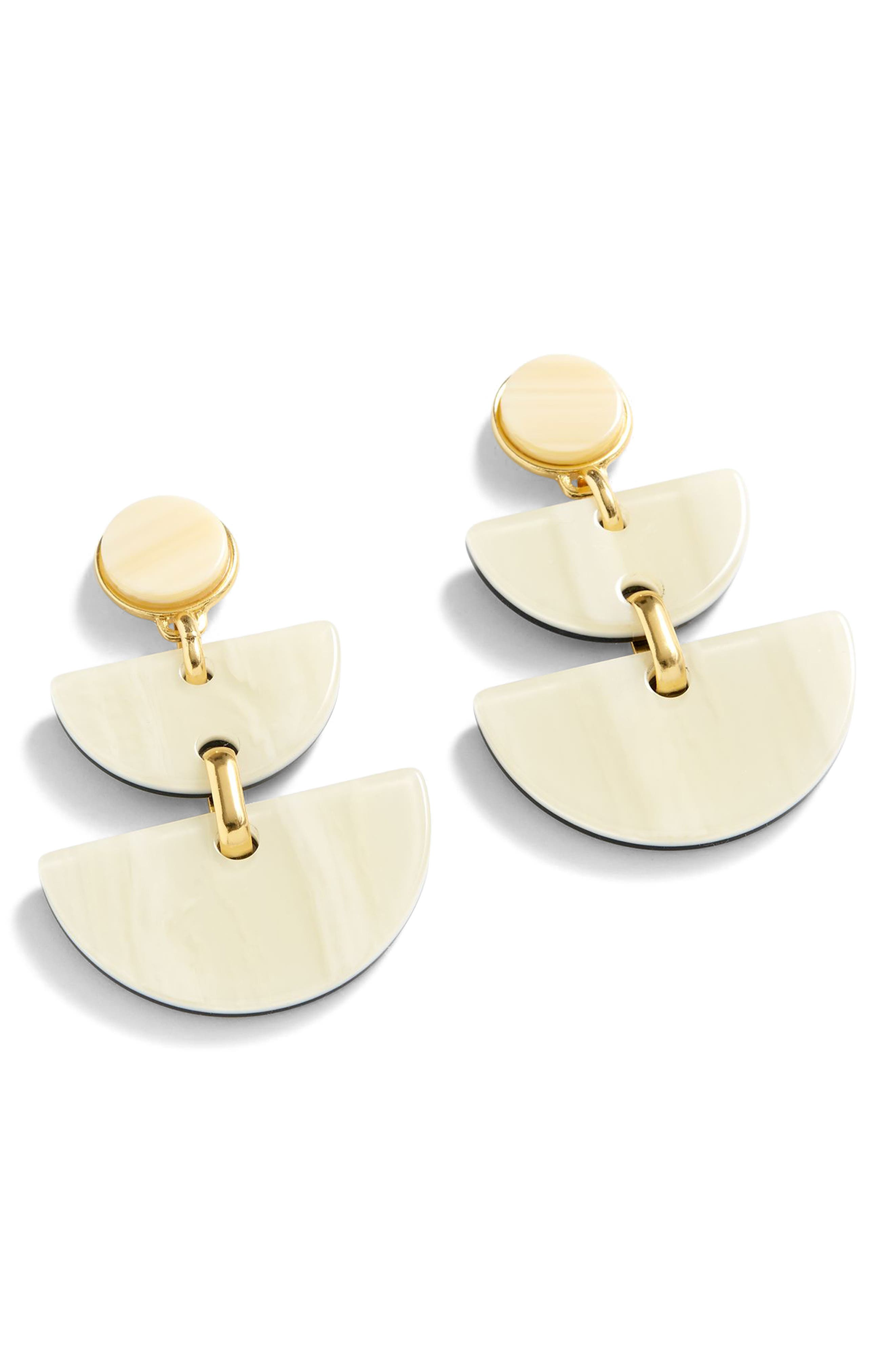 Half-Moon Lucite<sup>®</sup> Earrings,                         Main,                         color, Sundried Linen