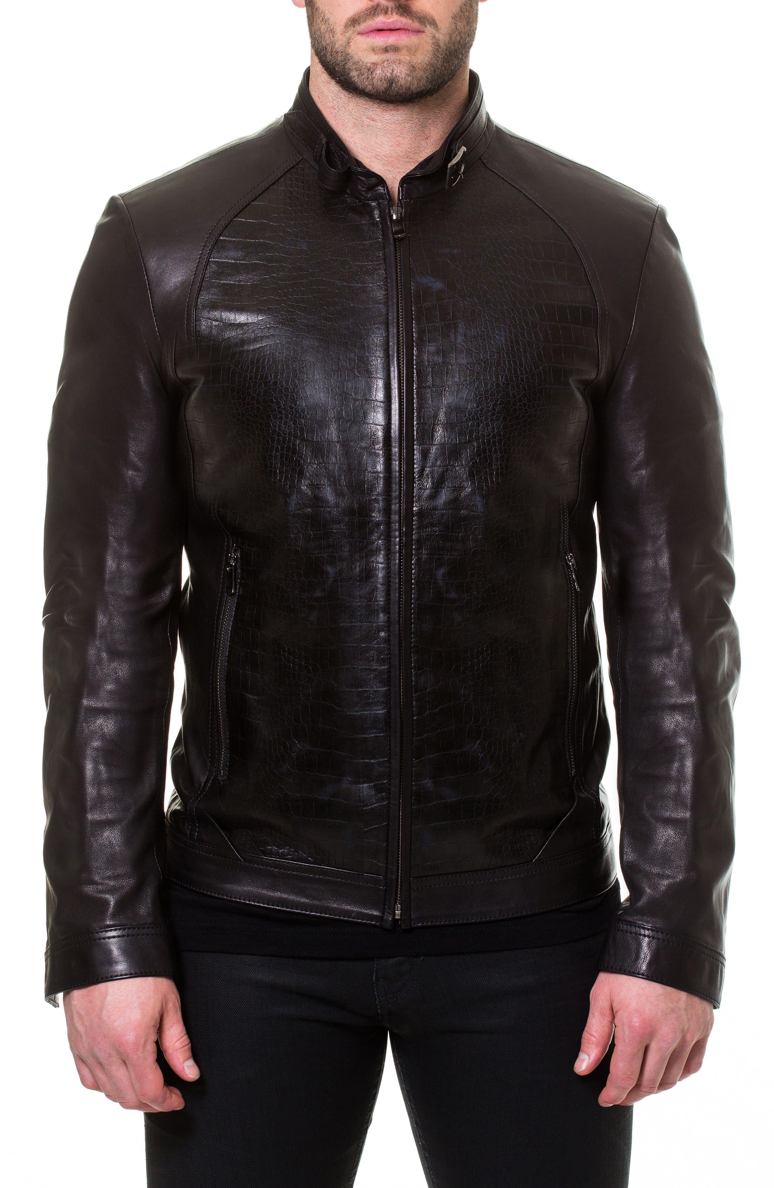 Tron Print Leather Jacket,                             Main thumbnail 1, color,                             Black