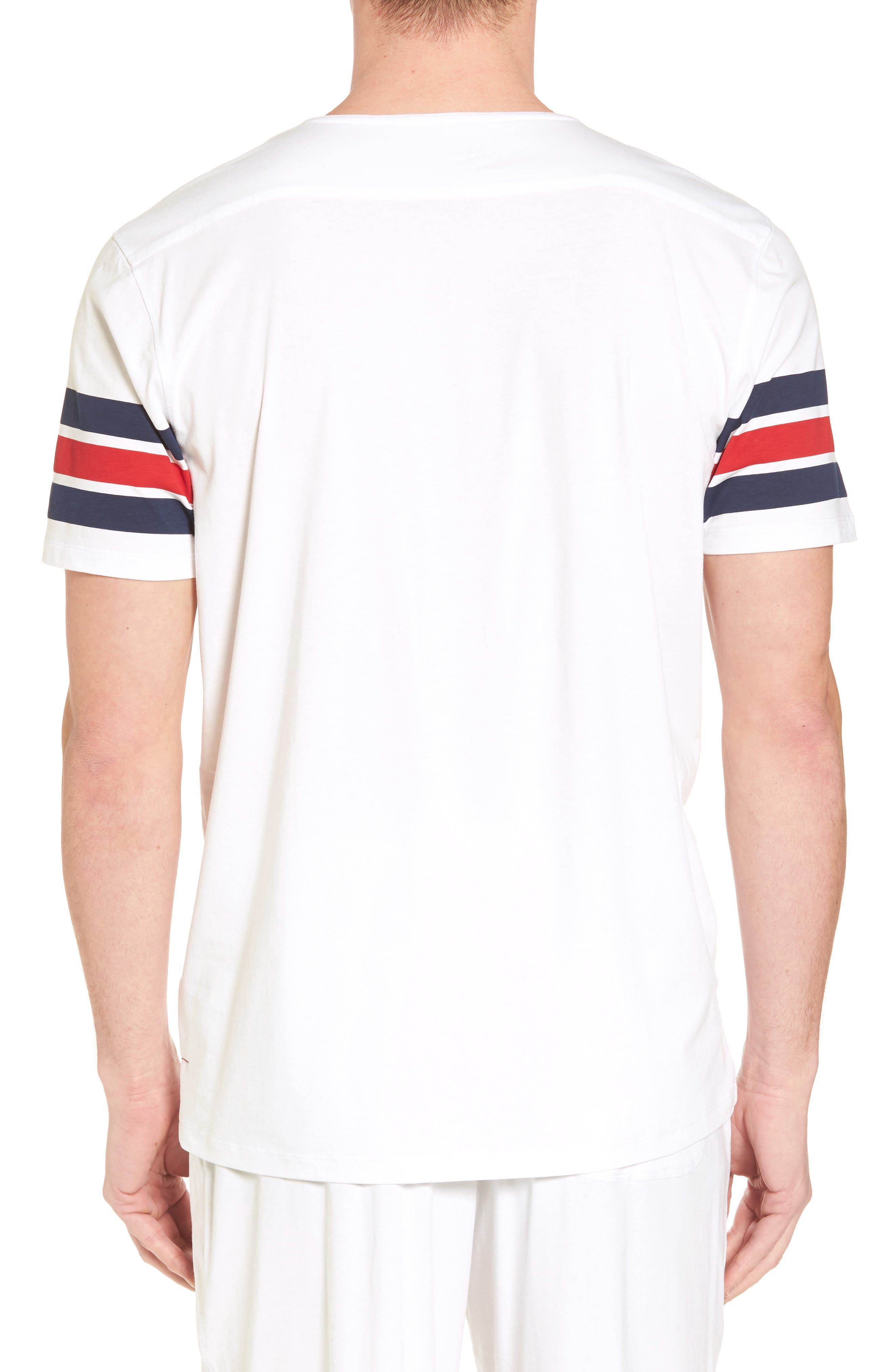 V-Neck Stretch Cotton Blend T-Shirt,                             Alternate thumbnail 2, color,                             Red/ Navy