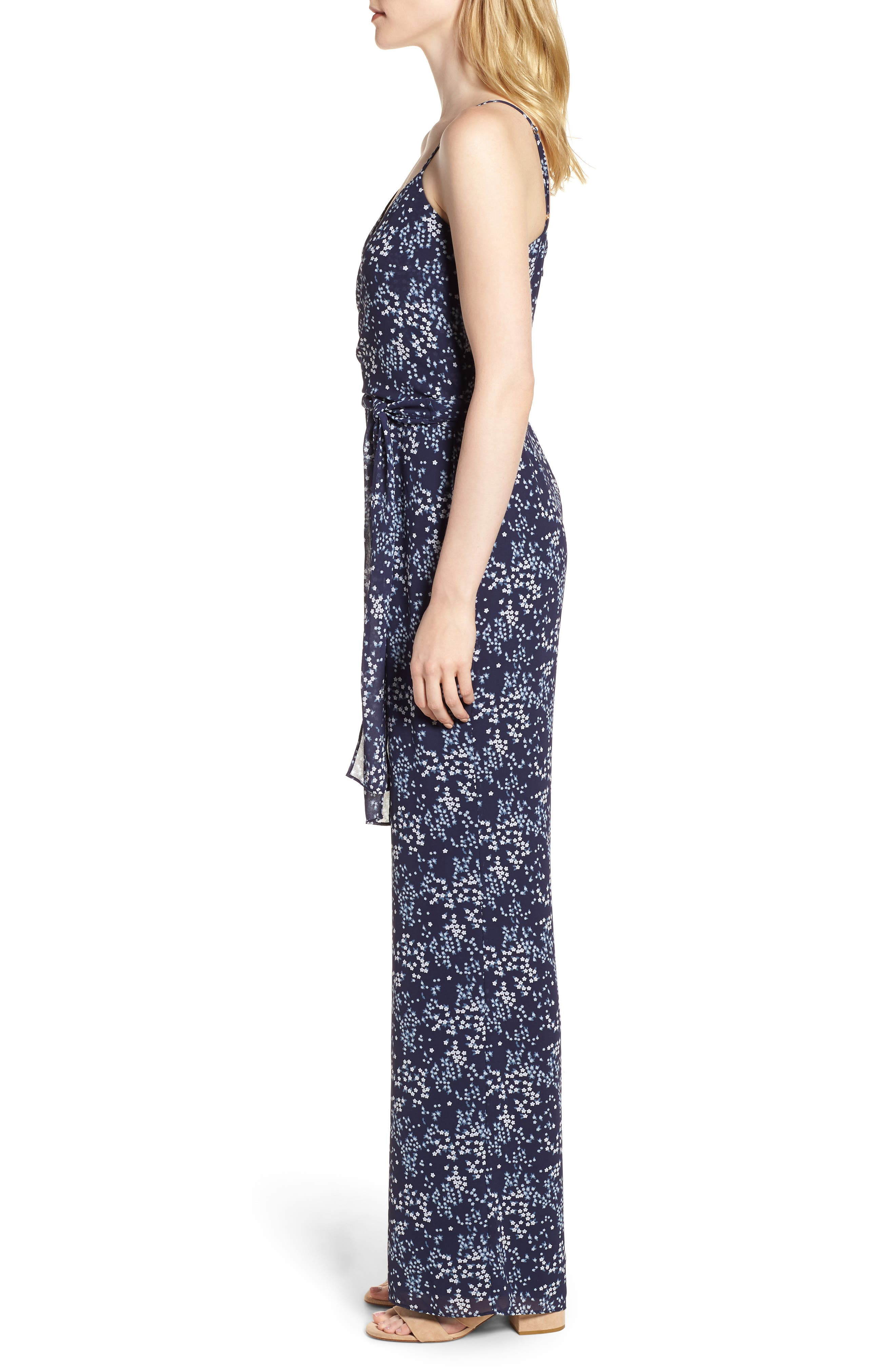 Scattered Blooms Jumpsuit,                             Alternate thumbnail 3, color,                             True Navy/ Light Chambray