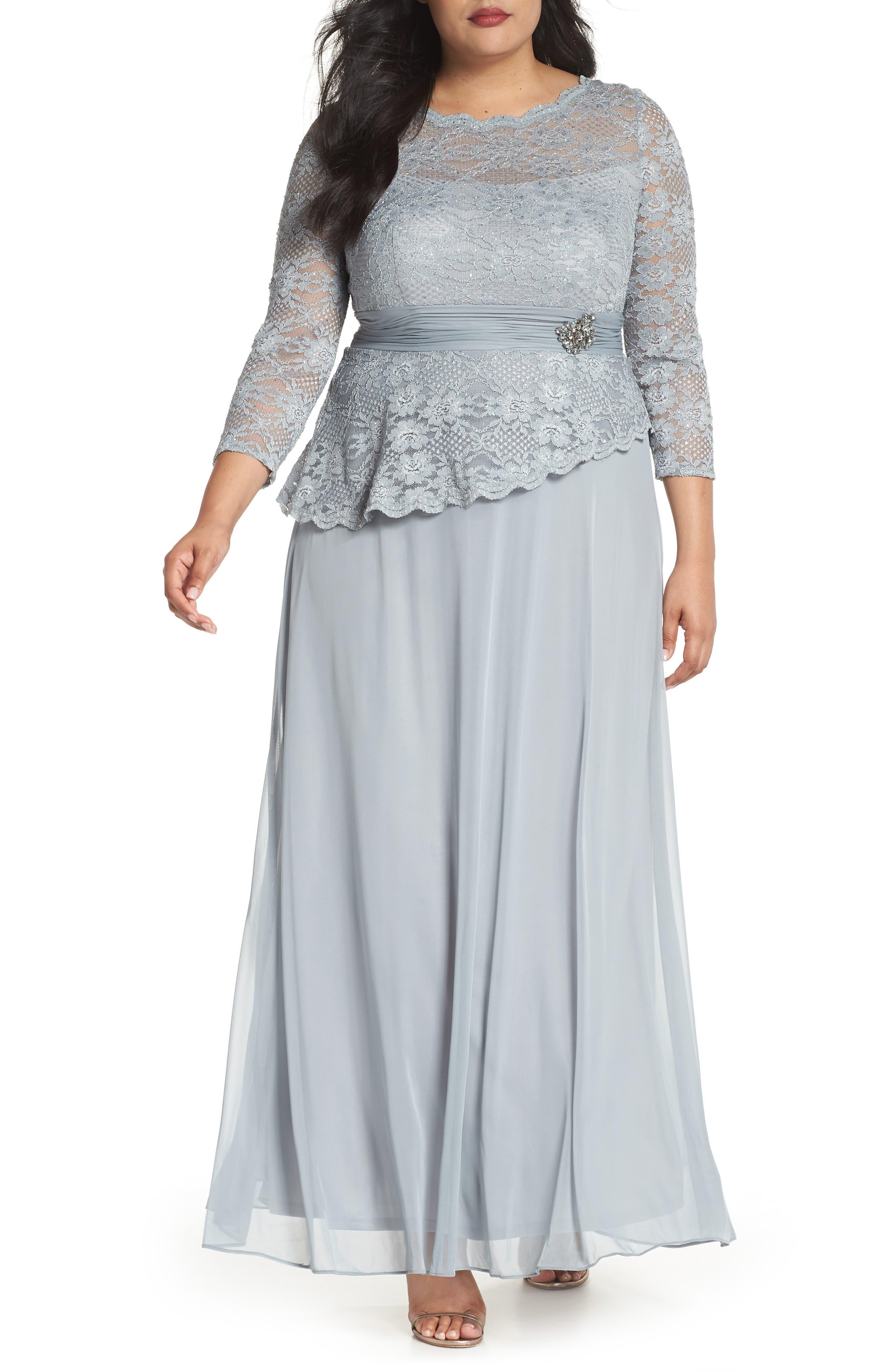 Asymmetrical Lace Bodice Gown,                         Main,                         color, Sage