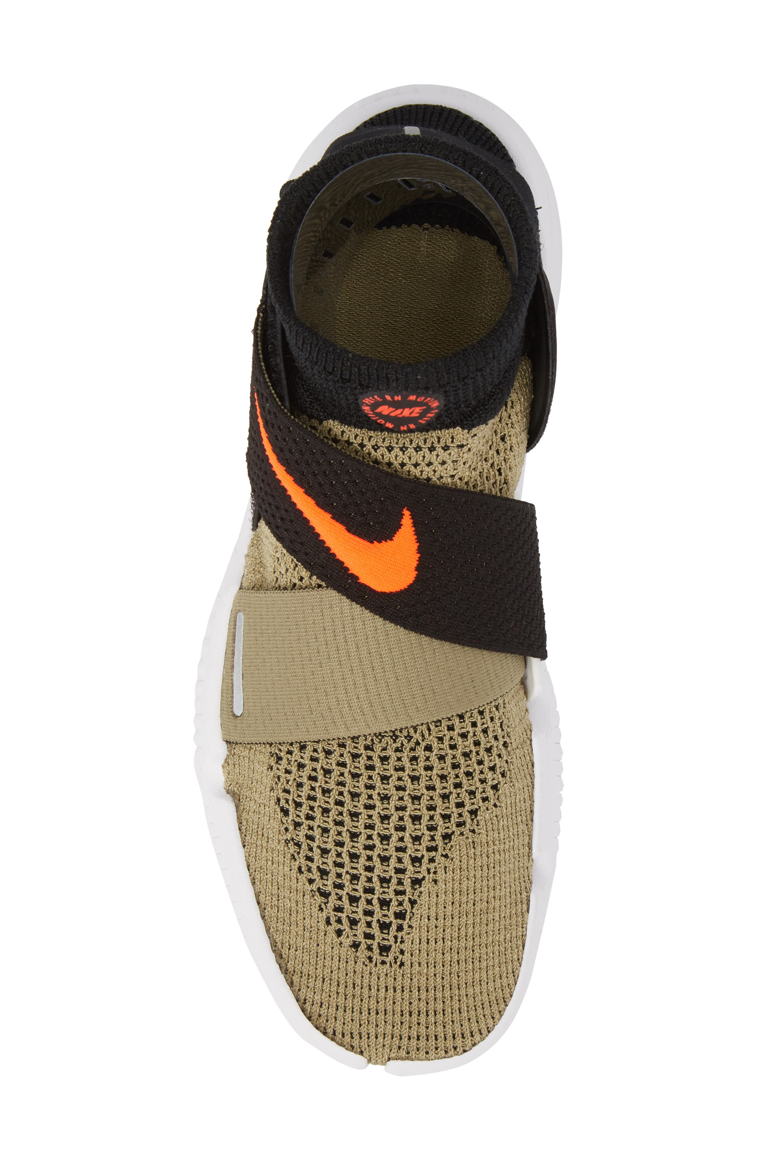 Free RN Motion 2018 Flyknit Running Shoe,                             Alternate thumbnail 5, color,                             Neutral Olive/ Bright Crimson