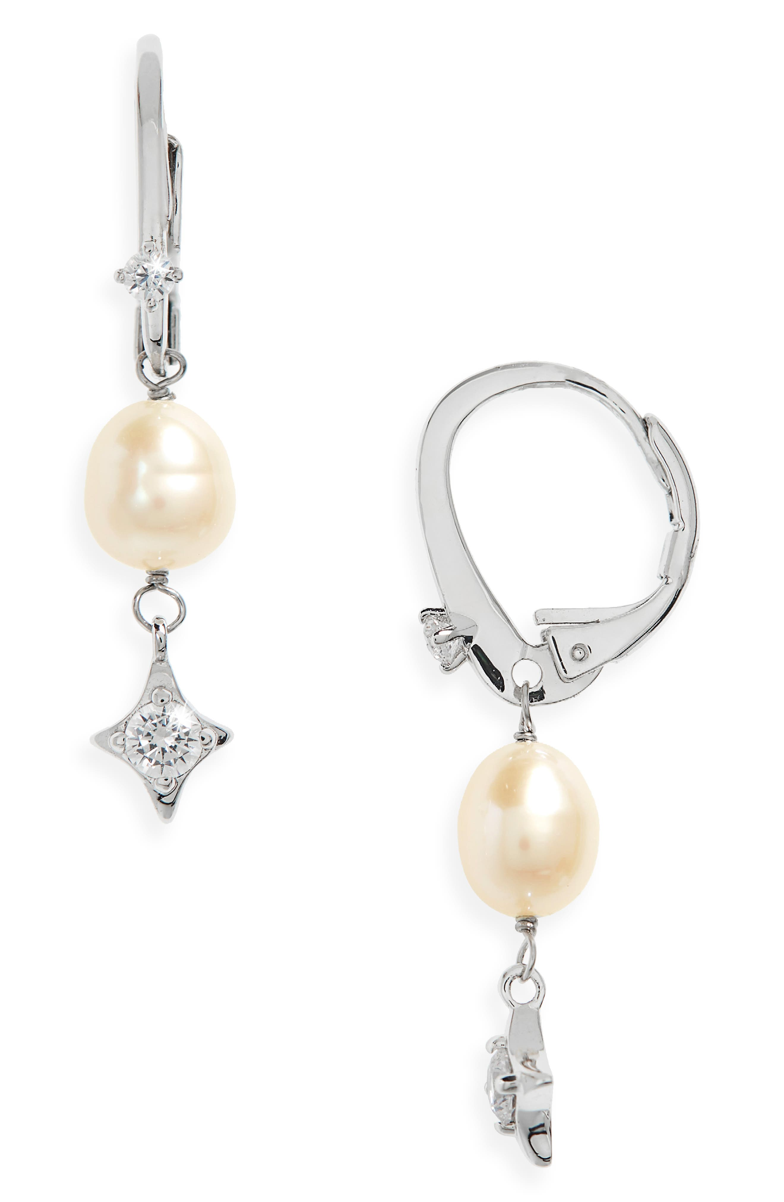 Freshwater Pearl Drop Earrings,                             Main thumbnail 1, color,                             Silver/ White Pearl