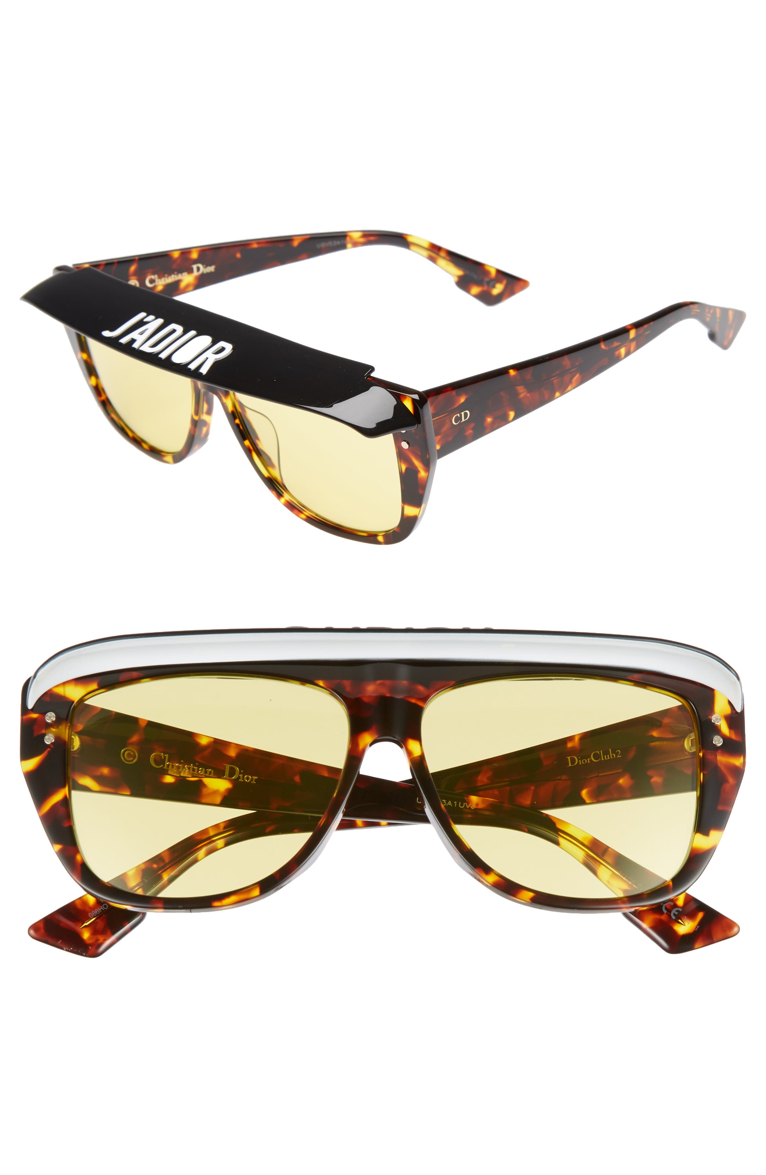 Dior DiorClub2S 56mm Square Sunglasses with Removable Visor