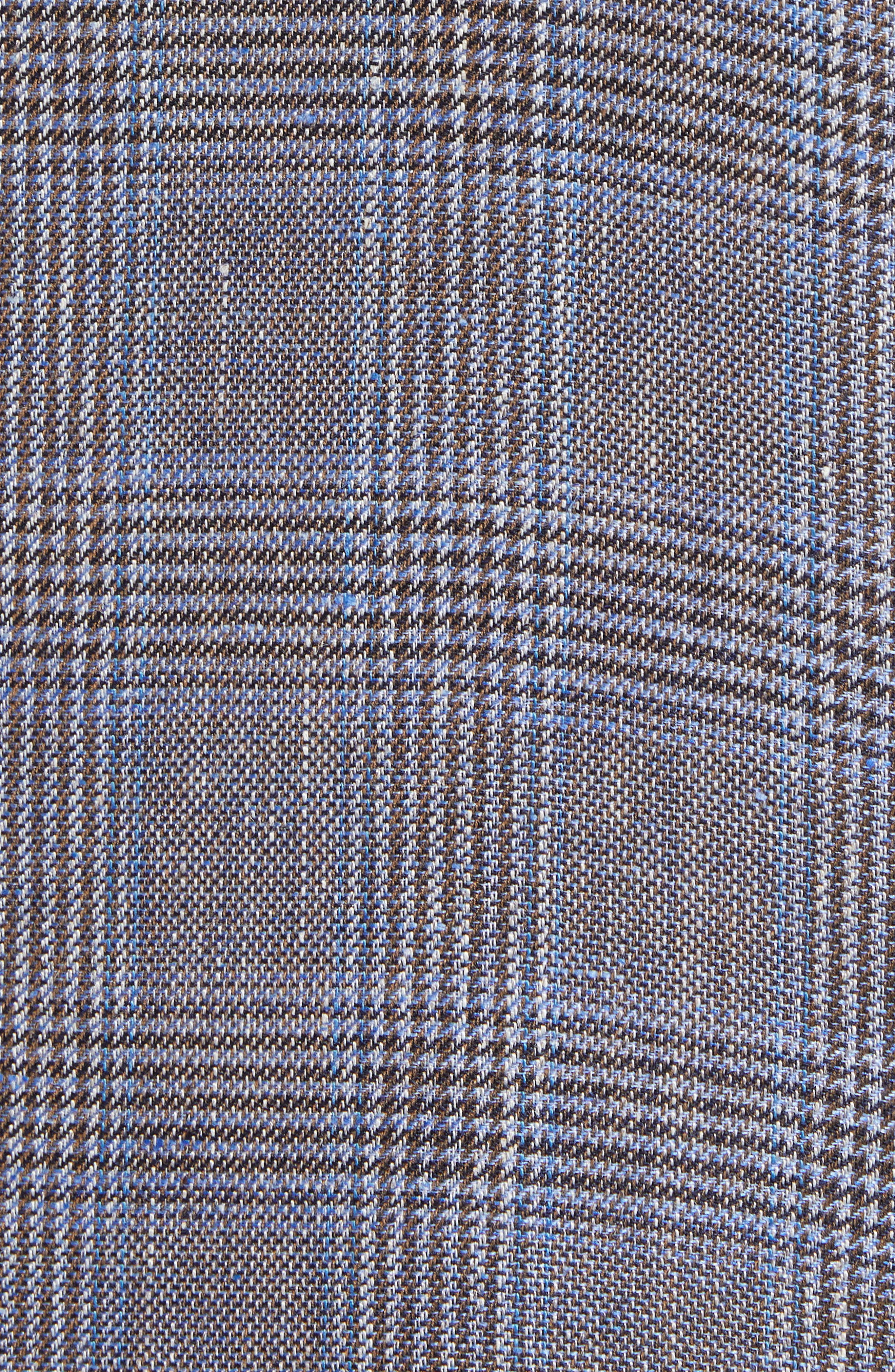 Glenn Trim Fit Plaid Linen Blend Sport Coat,                             Alternate thumbnail 5, color,                             Cognac