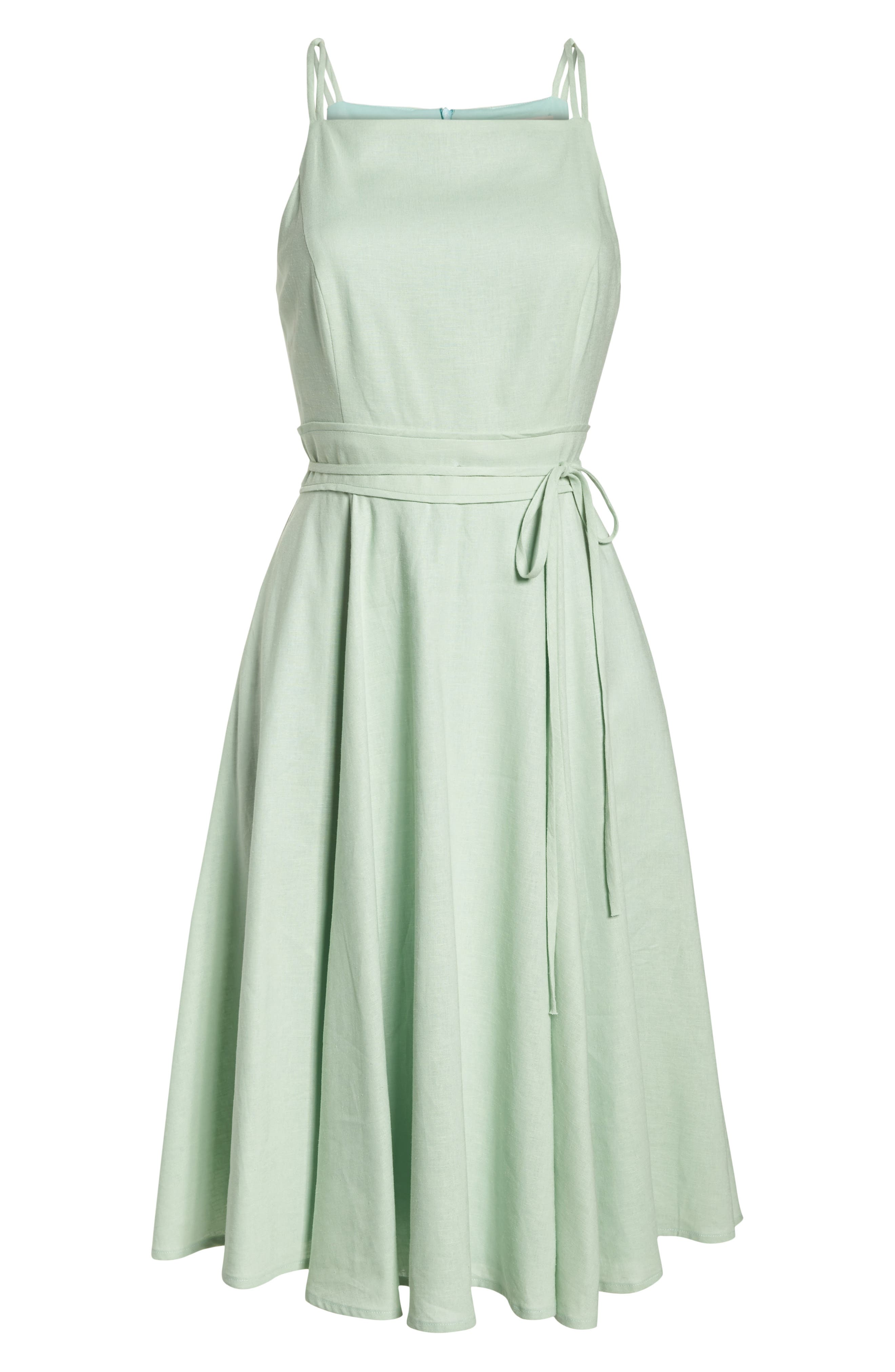 Caroline Linen Blend Fit & Flare Dress,                             Alternate thumbnail 8, color,                             Mint Leaf