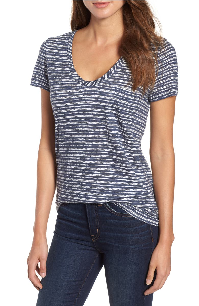 Rounded V-Neck Tee, Main, color, Navy Trail Blazer Stripe