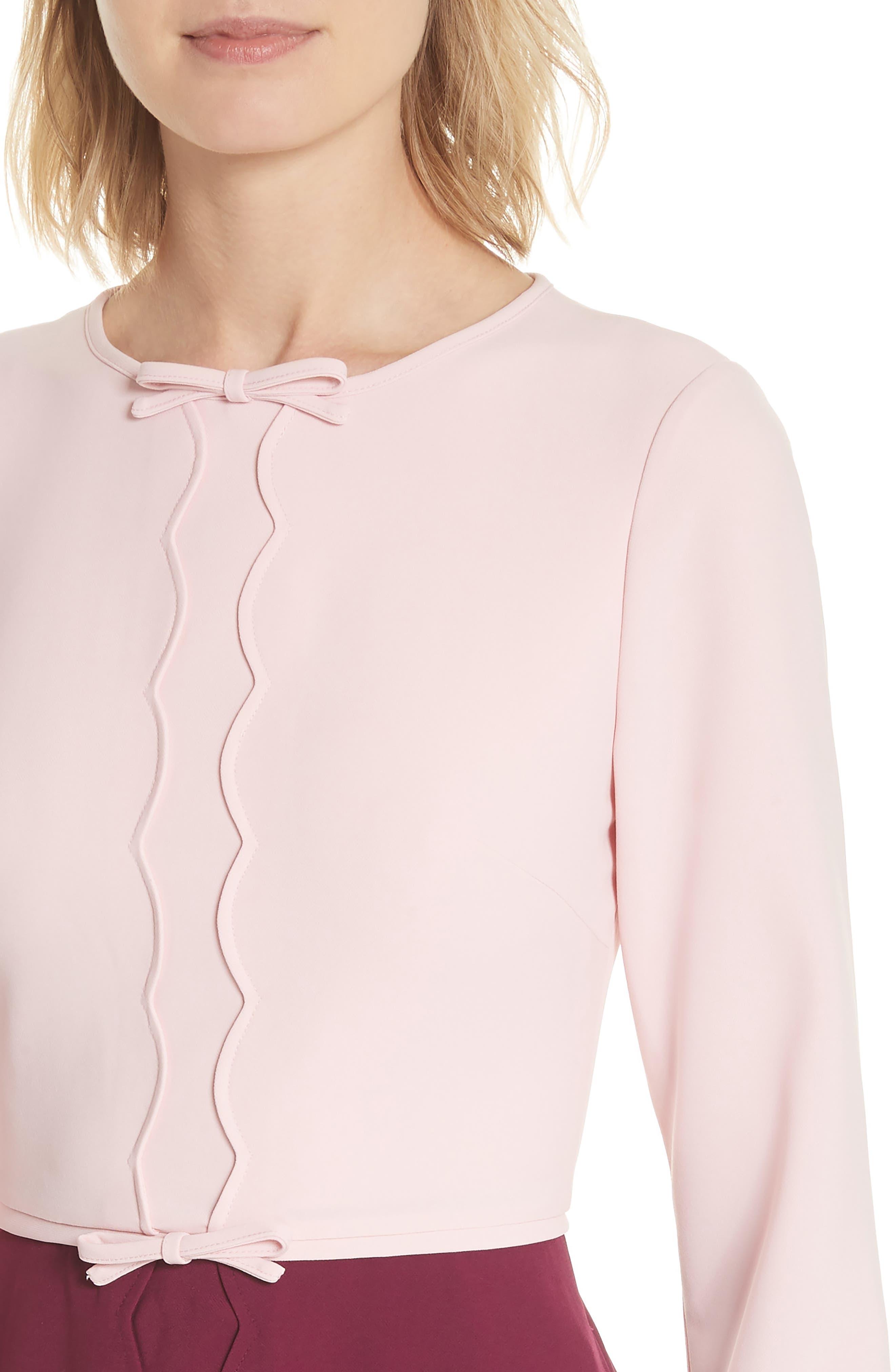 Scalloped A-Line Dress,                             Alternate thumbnail 4, color,                             Dusky Pink