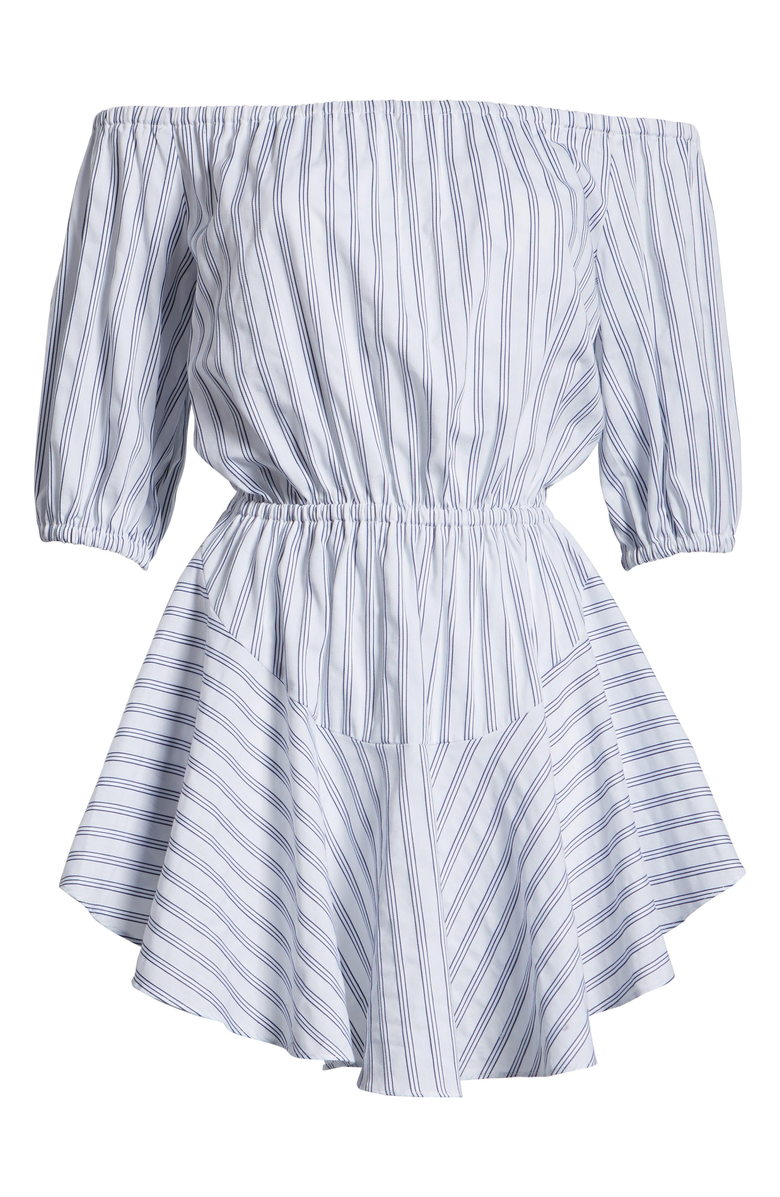 Barbados Stripe Off the Shoulder Dress,                             Alternate thumbnail 7, color,                             Blue