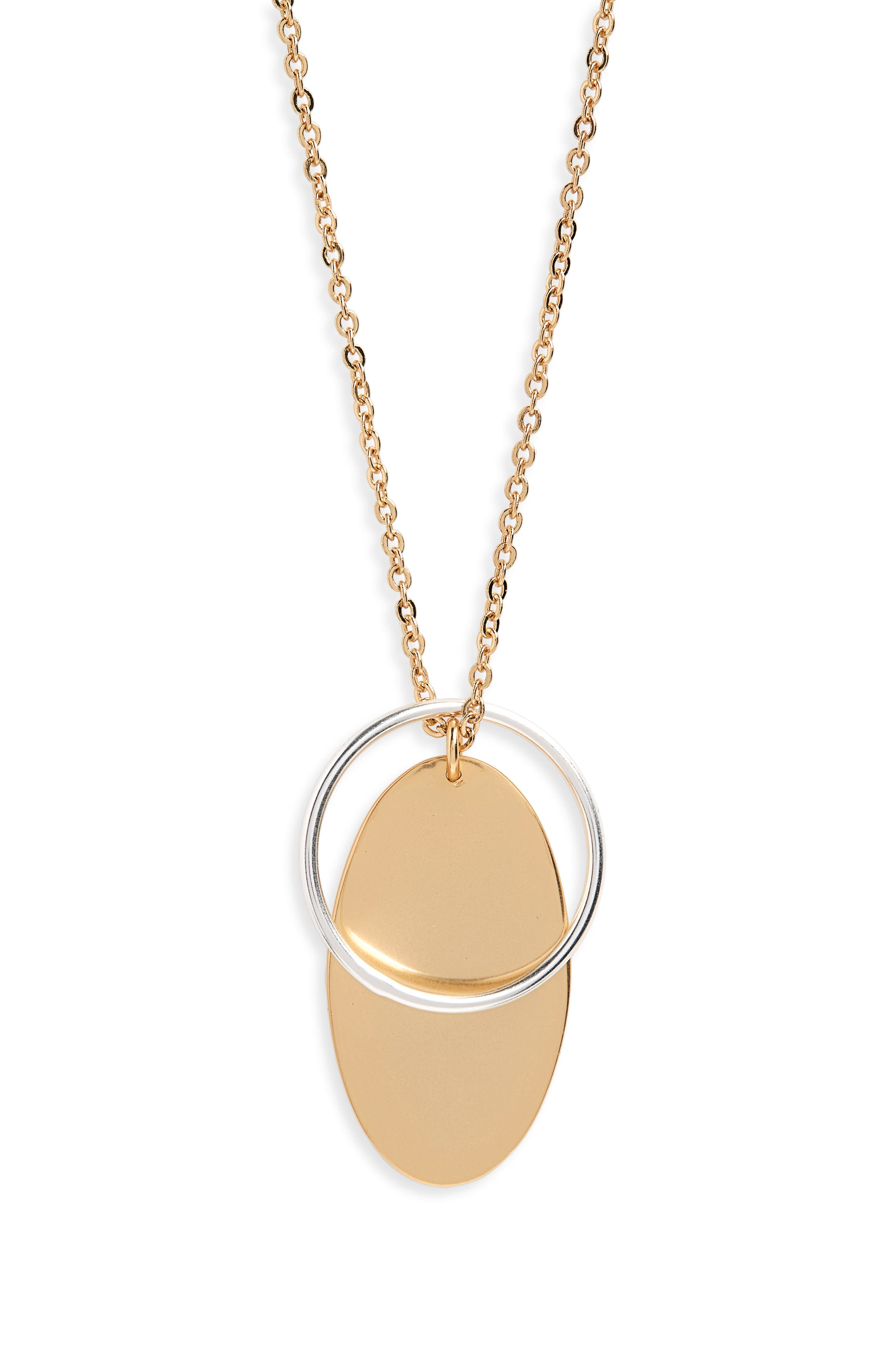 Layered Pendant Necklace,                             Main thumbnail 1, color,                             Burnished Gold