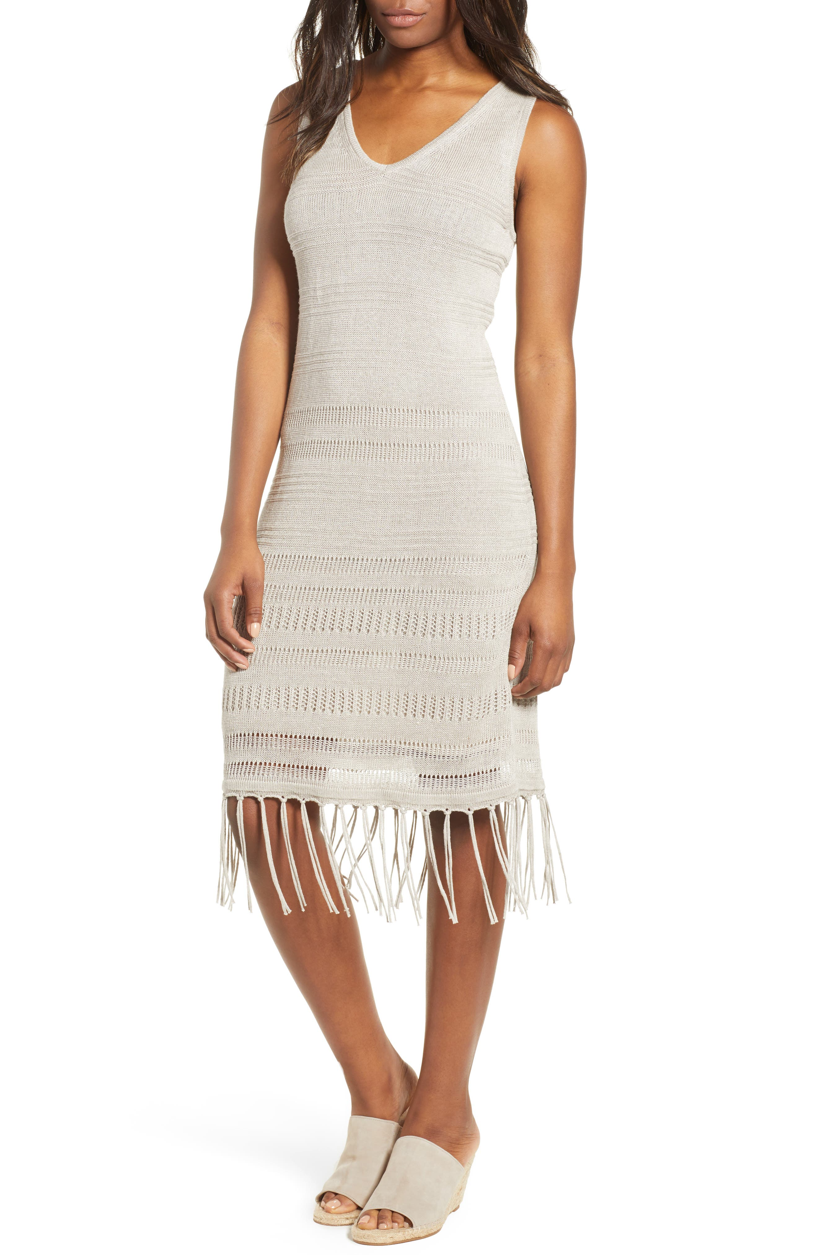 Pointelle Knit Tank Dress,                         Main,                         color, Natural