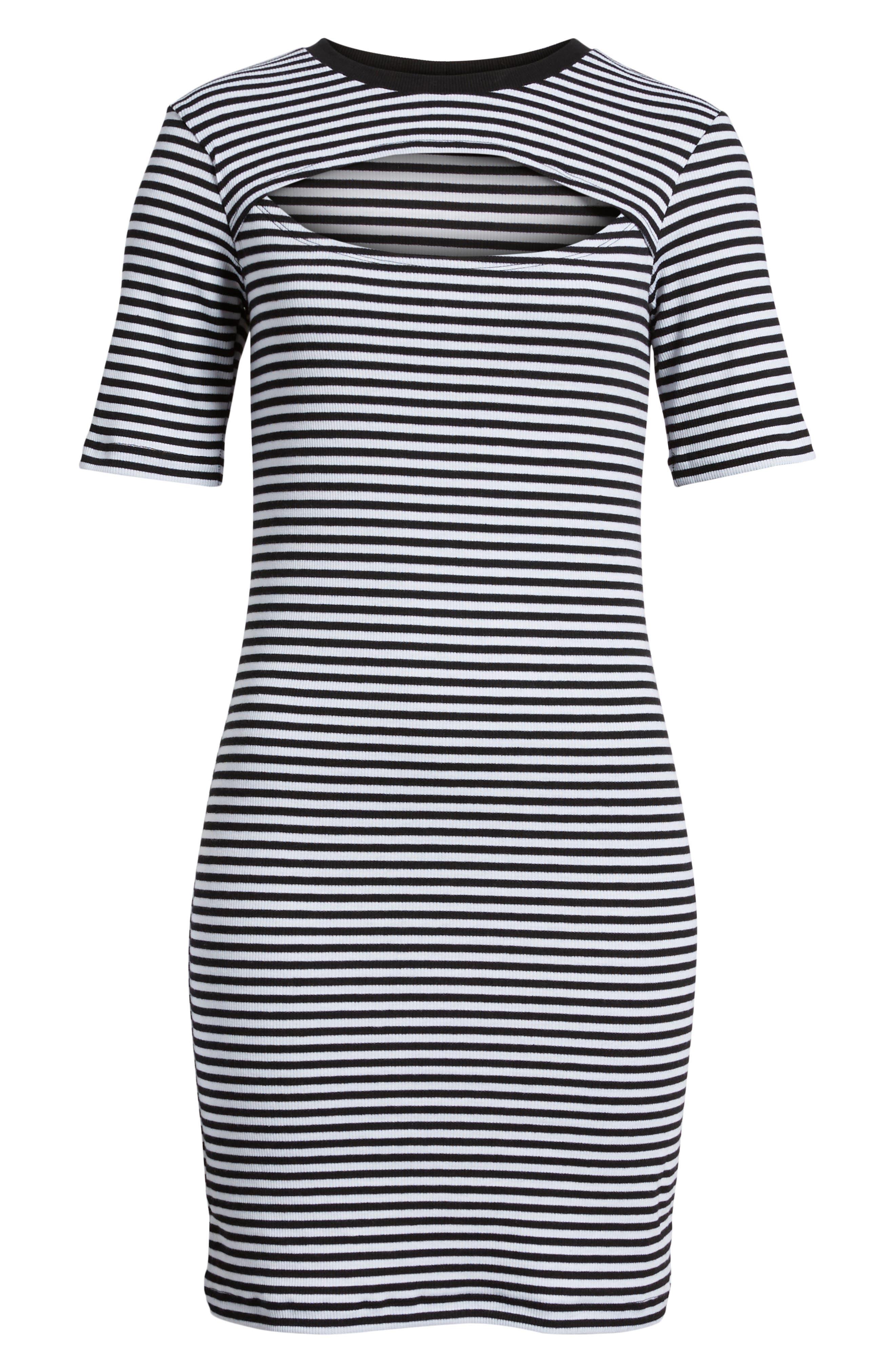 Stripe Cutout Dress,                             Alternate thumbnail 7, color,                             Black W White