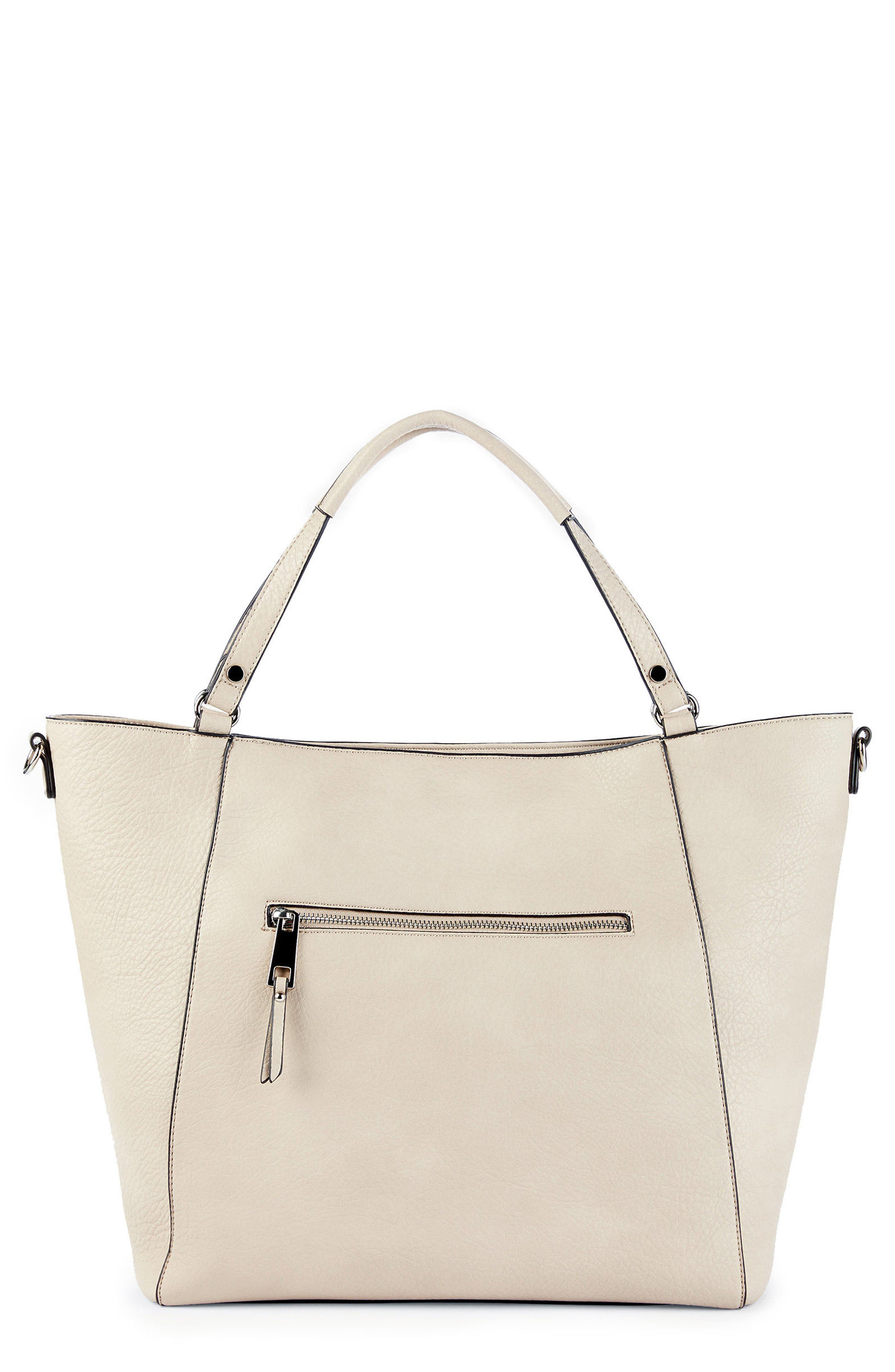 Nera Faux Leather Tote,                             Alternate thumbnail 3, color,                             Sandshell