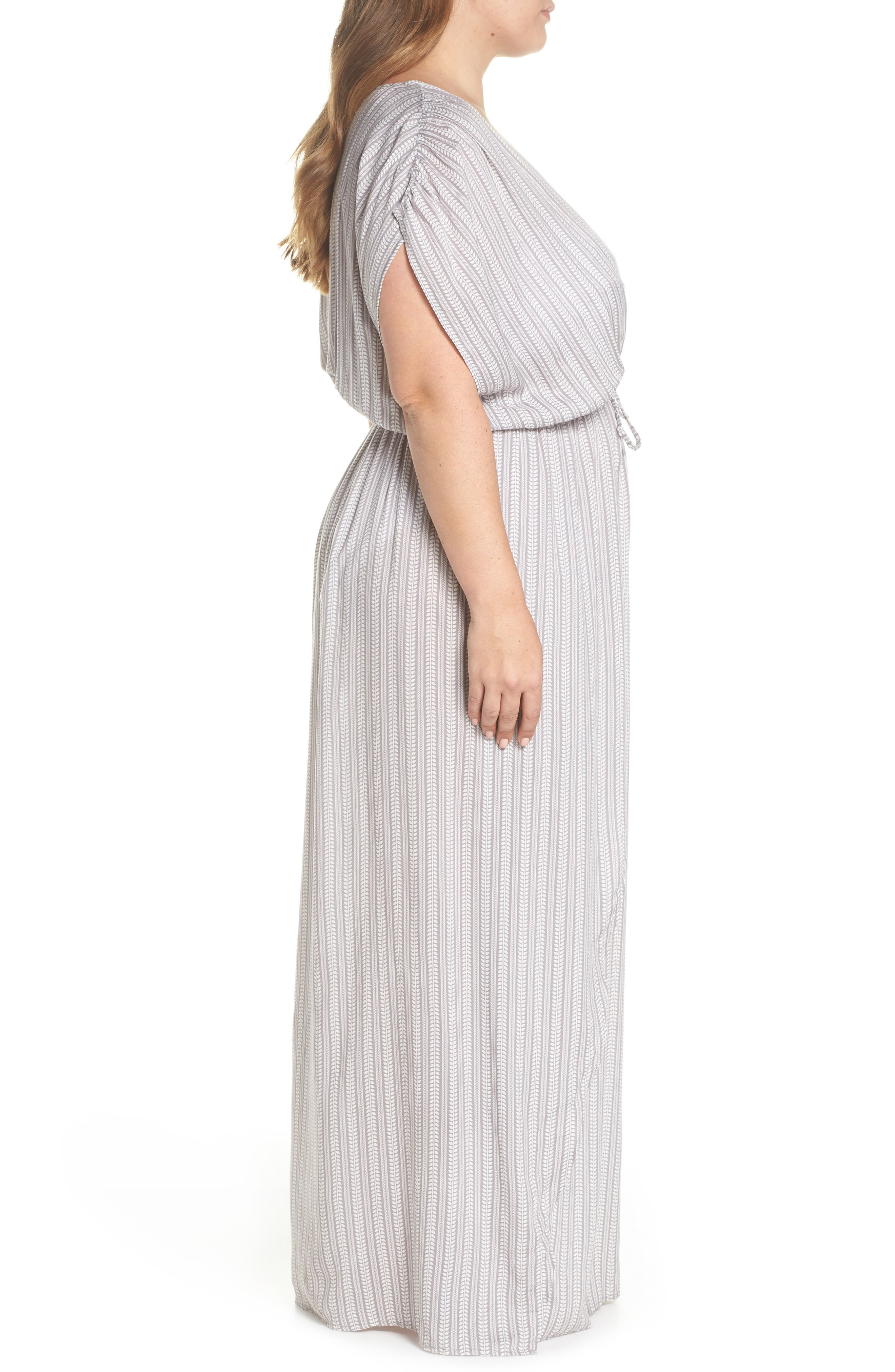 Wrap Maxi Cover-Up Dress,                             Alternate thumbnail 3, color,                             Makoto Grey