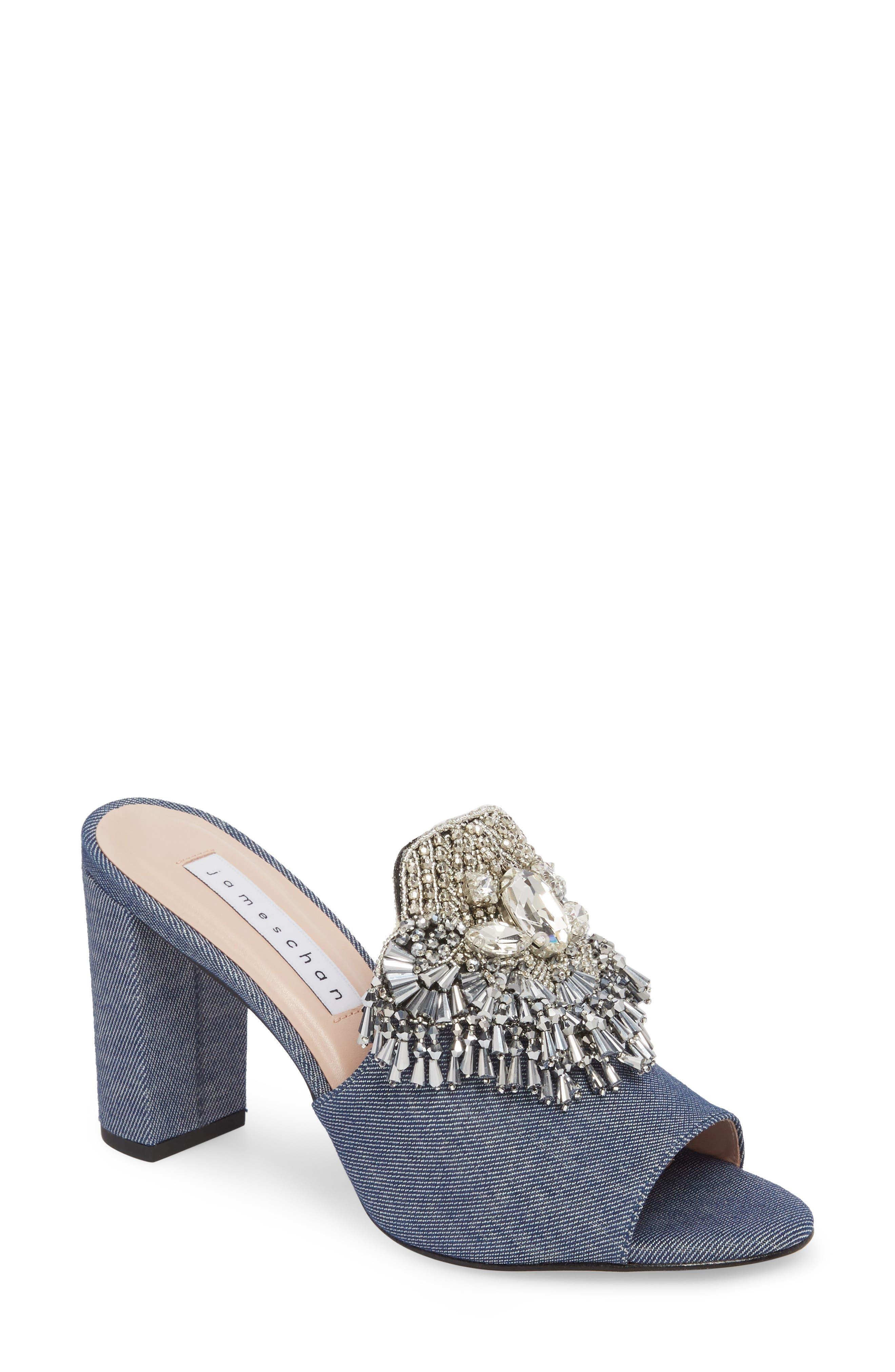 Adele Embellished Block Heel Sandal,                             Main thumbnail 1, color,                             Denim Patent