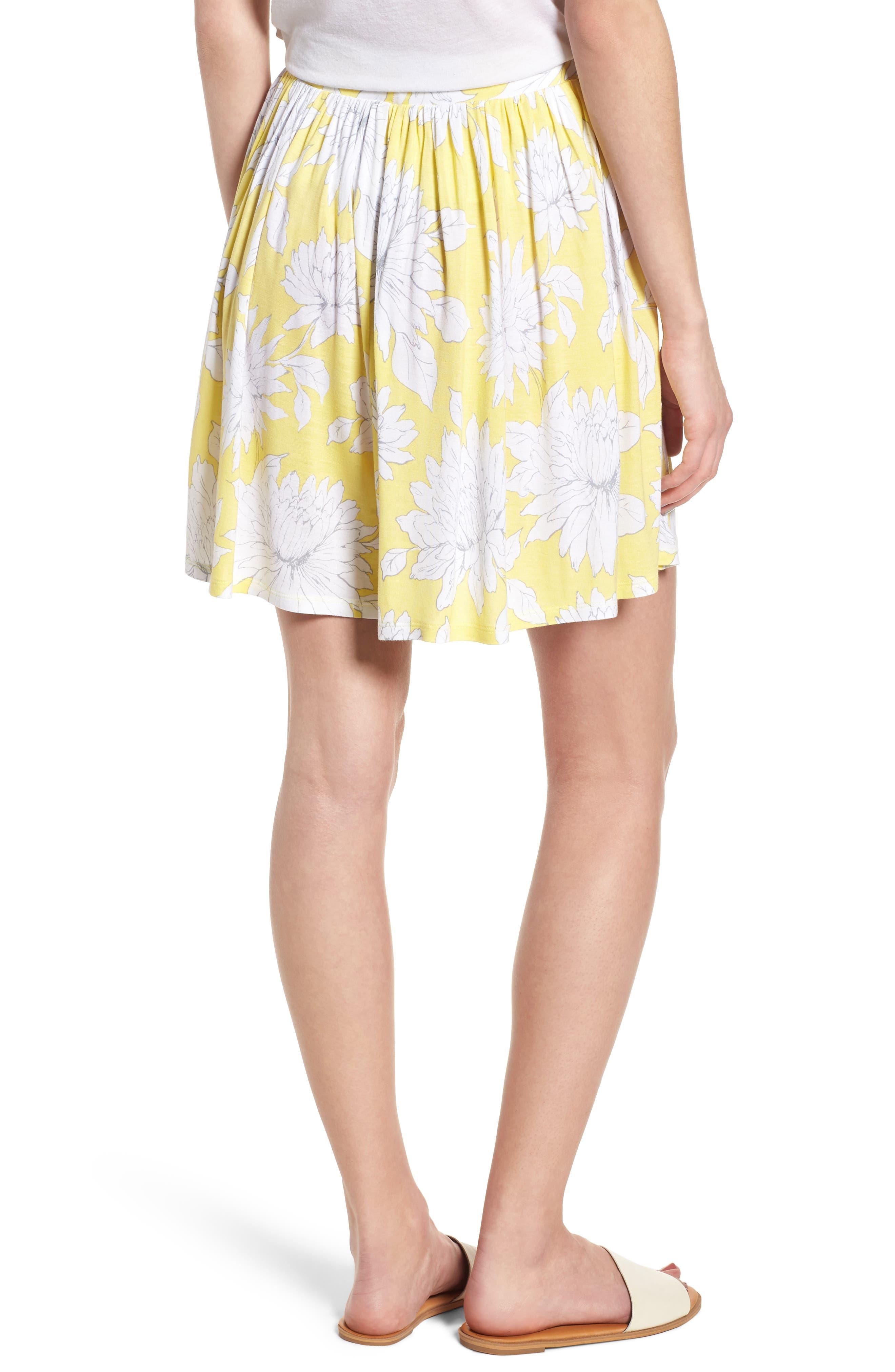 Print Wide Leg Shorts,                             Alternate thumbnail 2, color,                             Yellow Glow Grunge Floral