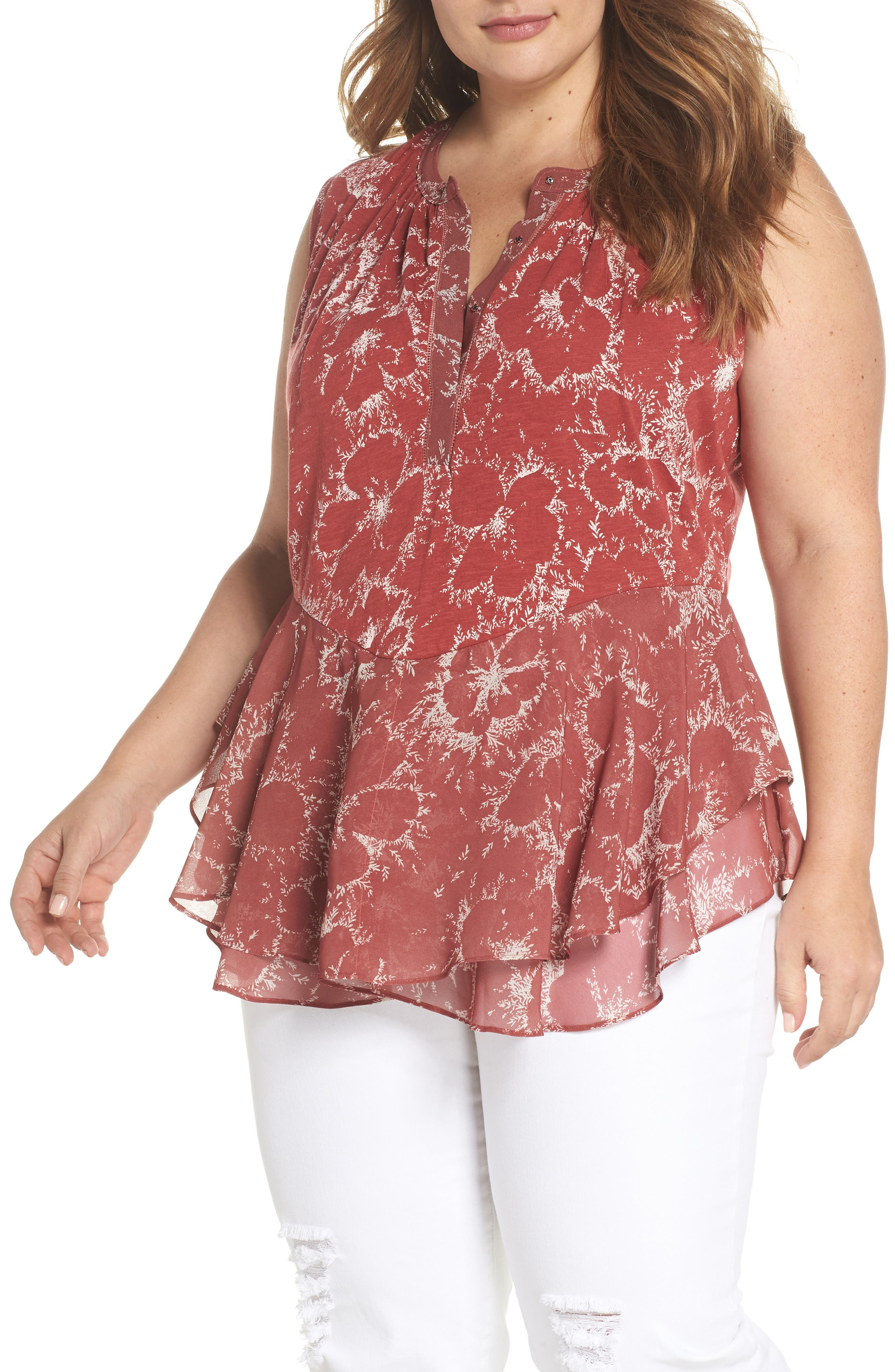 Lucky Brand Floral Peplum Top (Plus Size)