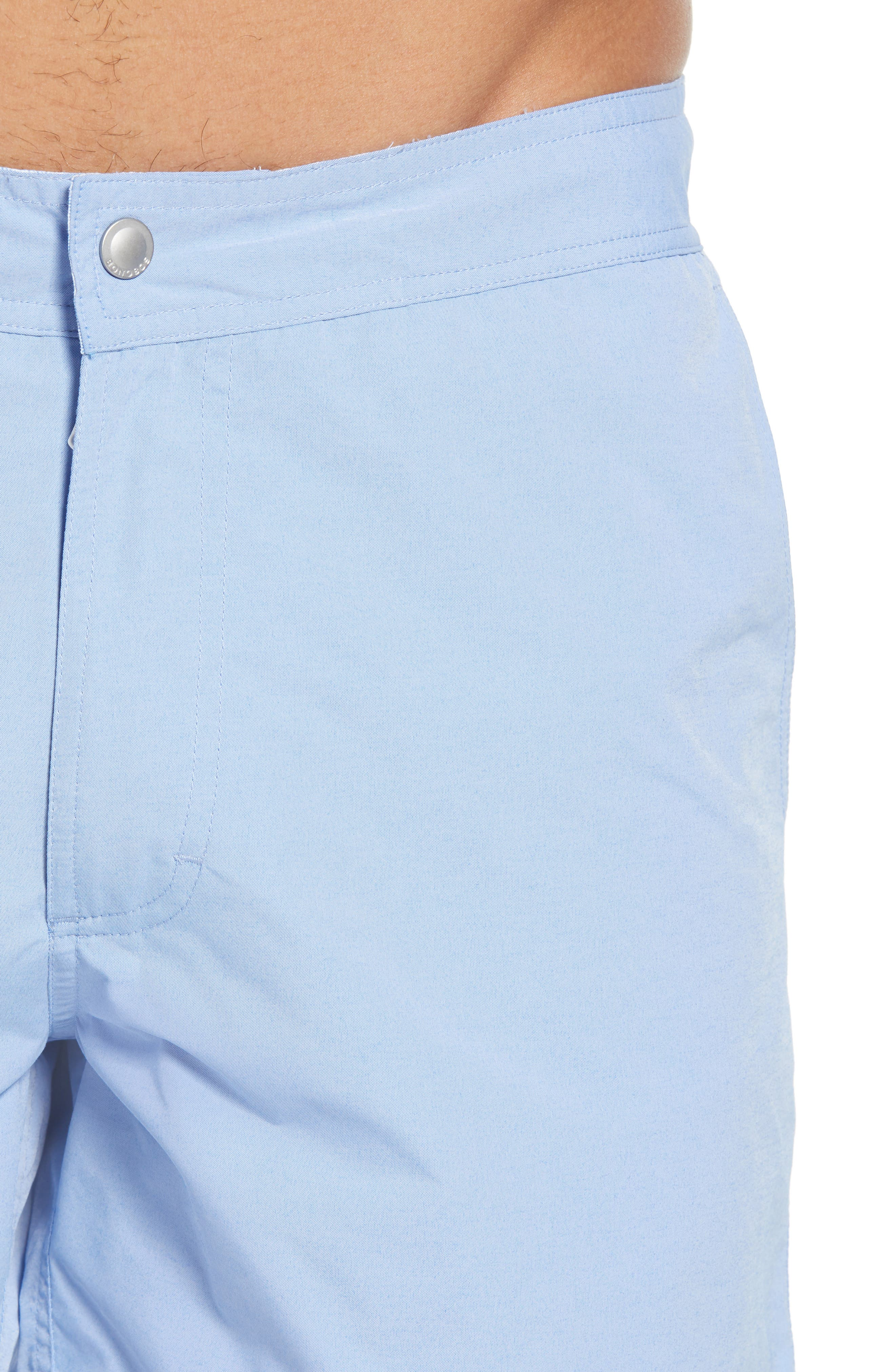 Solid 5-Inch Swim Trunks,                             Alternate thumbnail 4, color,                             Blue Chambray