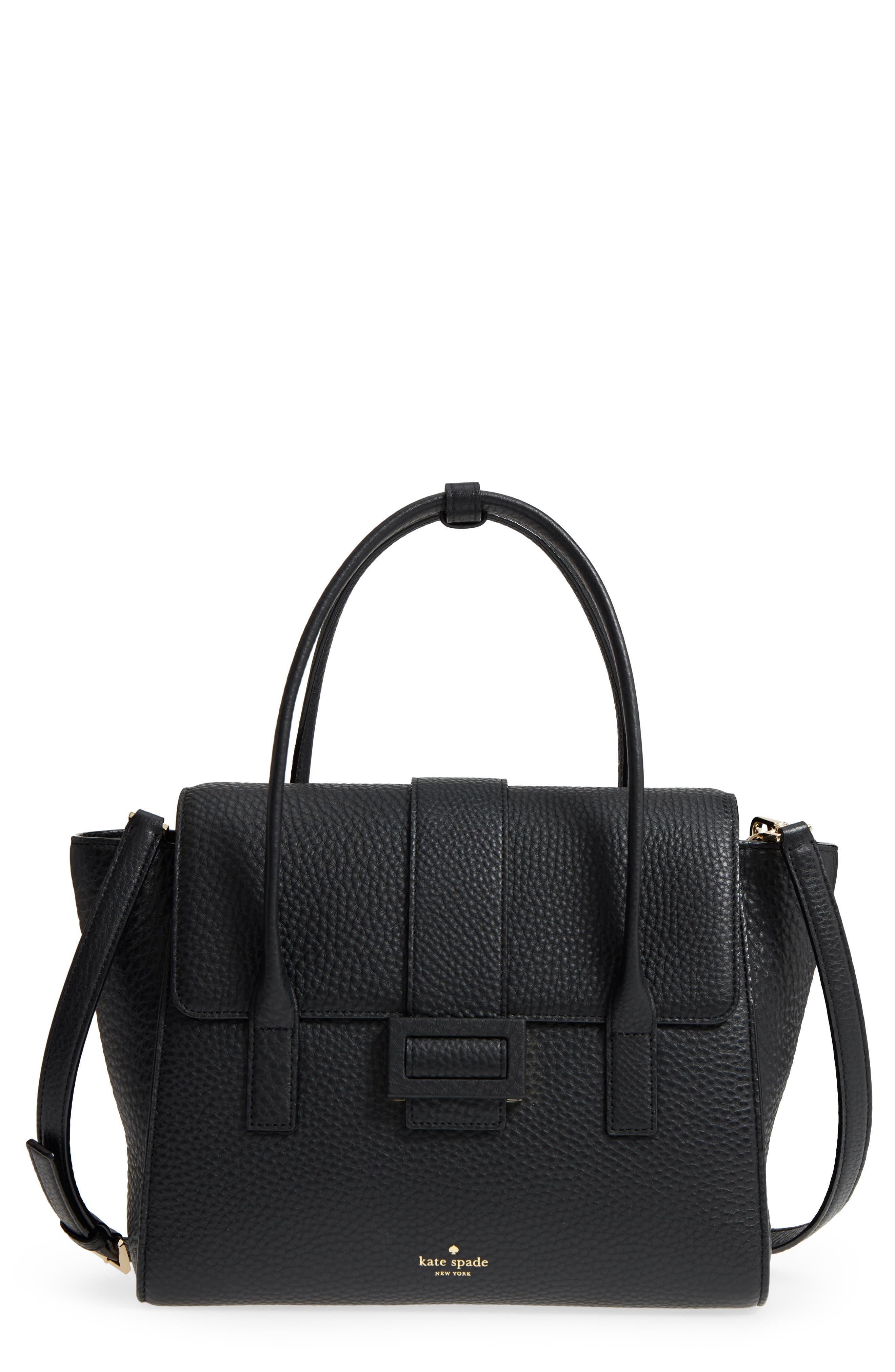 carlyle street - alexa leather satchel,                         Main,                         color, Black