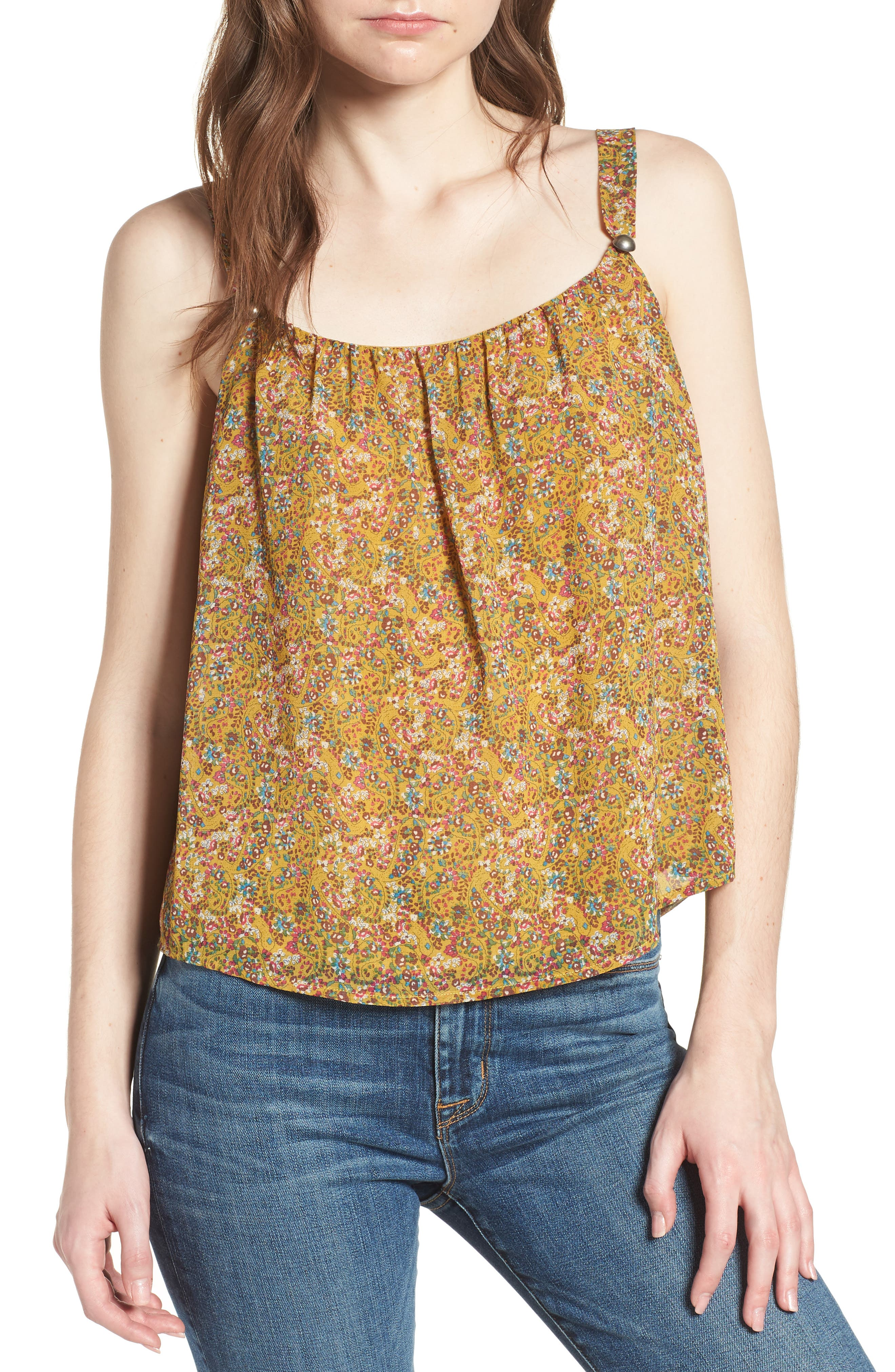 Madison Floral Top,                             Main thumbnail 1, color,                             Yellow Multi