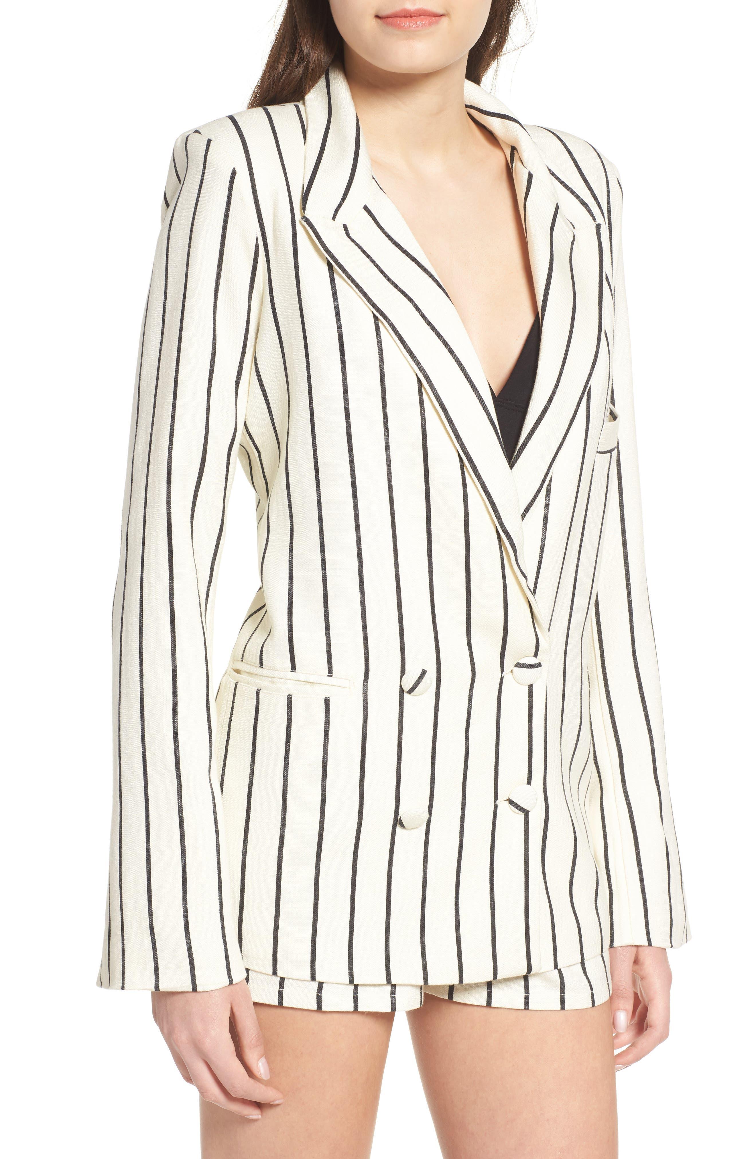 Fanning Stripe Blazer,                             Alternate thumbnail 2, color,                             Natural And Black