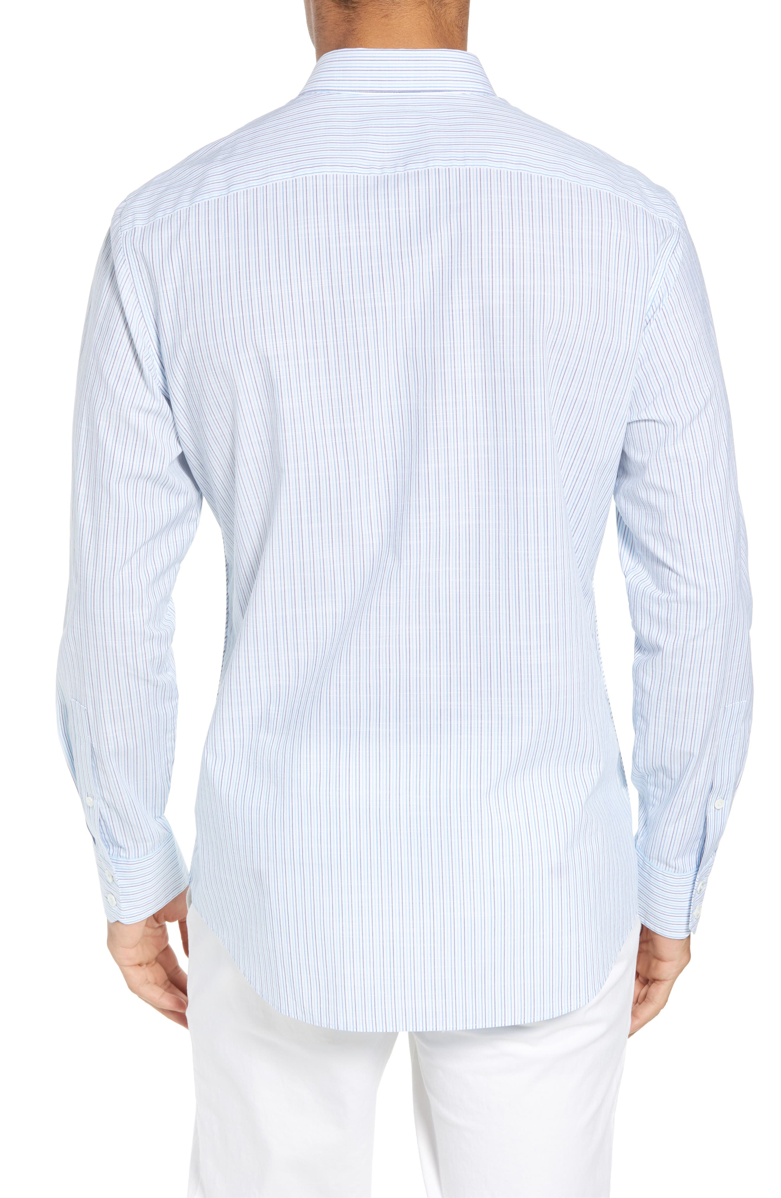 Skeeter Stripe Sport Shirt,                             Alternate thumbnail 3, color,                             Aqua