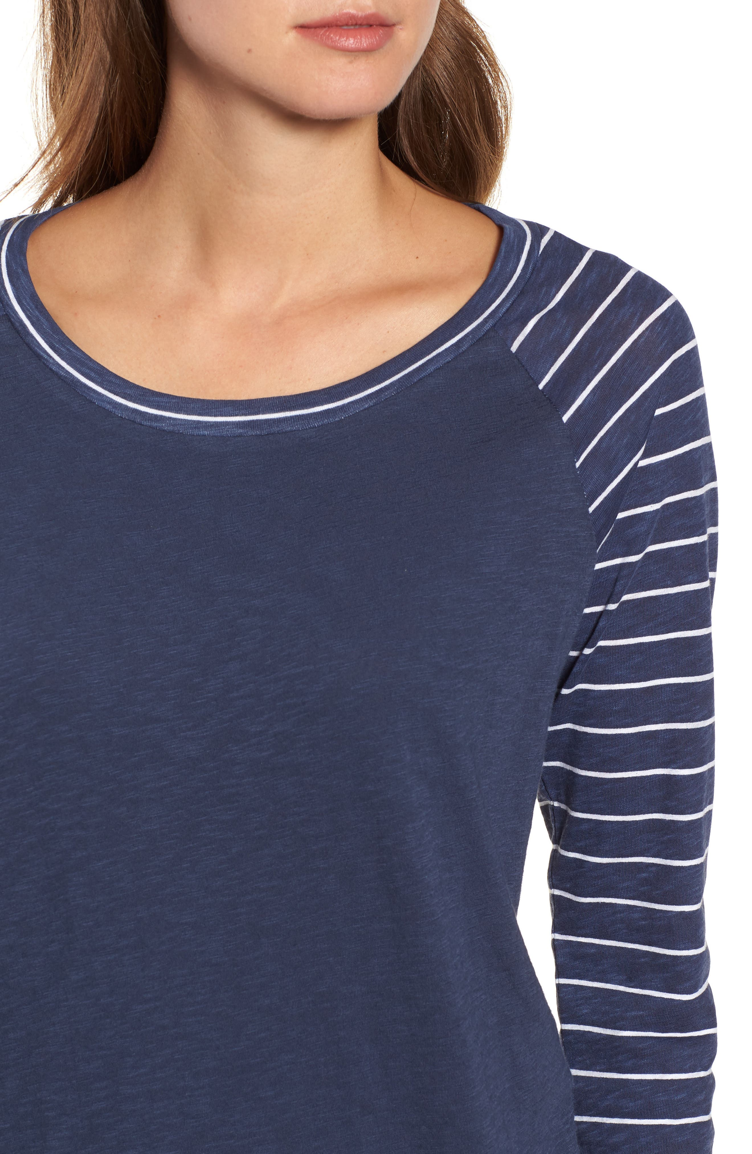 Lightweight Colorblock Cotton Tee,                             Alternate thumbnail 17, color,                             Navy- White