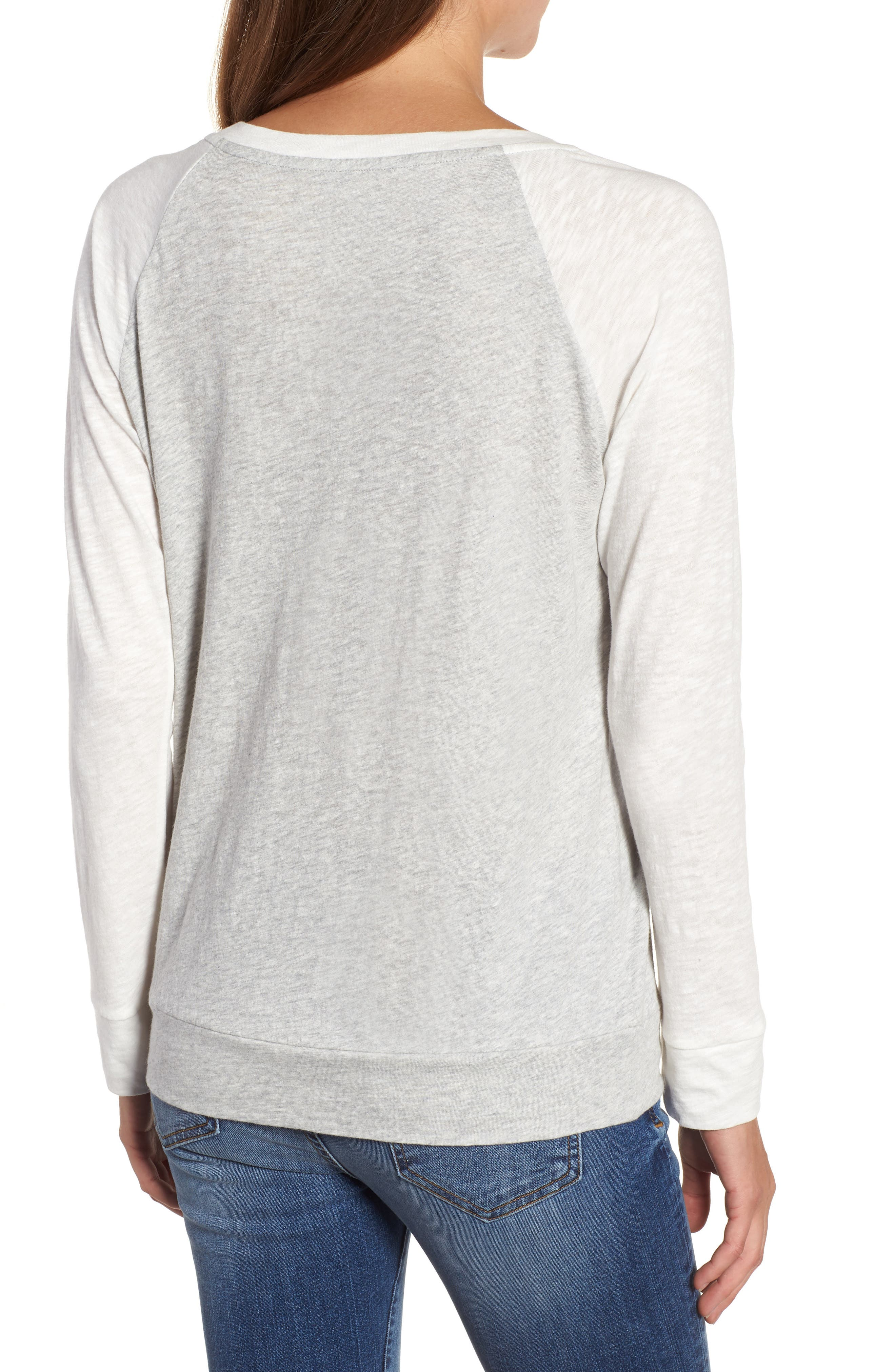 Lightweight Colorblock Cotton Tee,                             Alternate thumbnail 2, color,                             Grey- Ivory