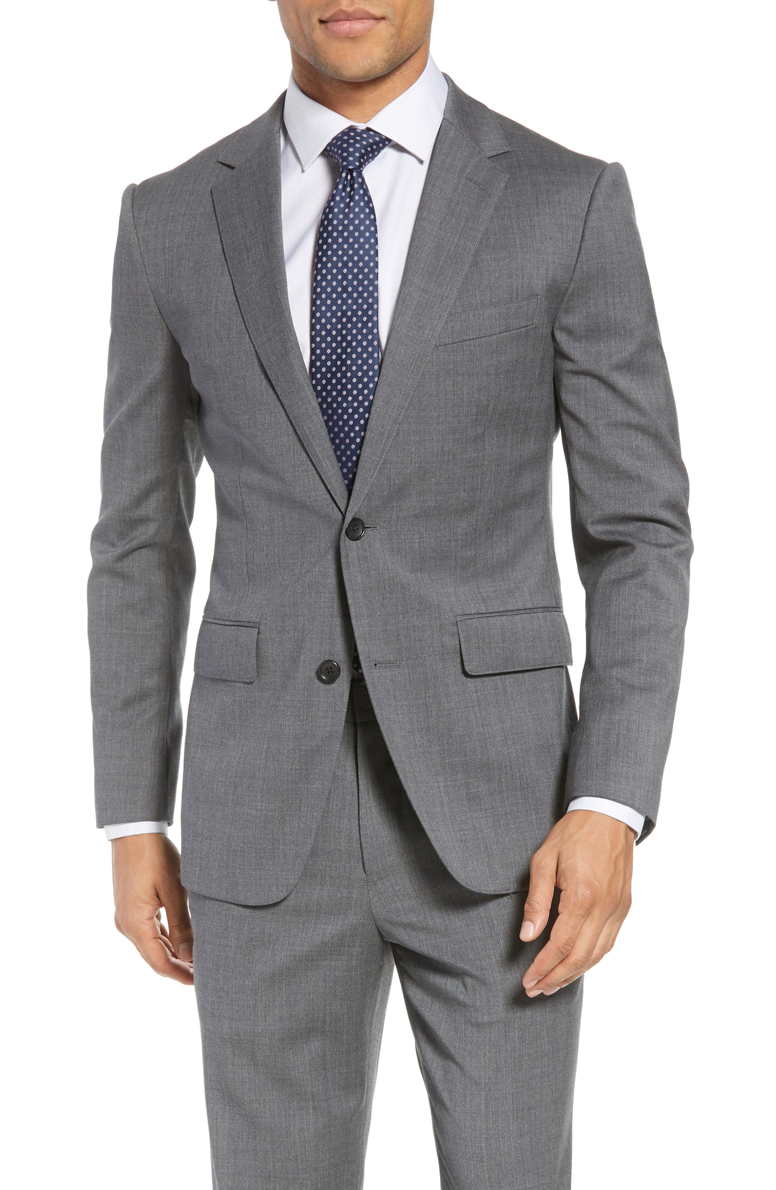 Trim Fit Solid Stretch Wool Sport Coat,                         Main,                         color, Grey