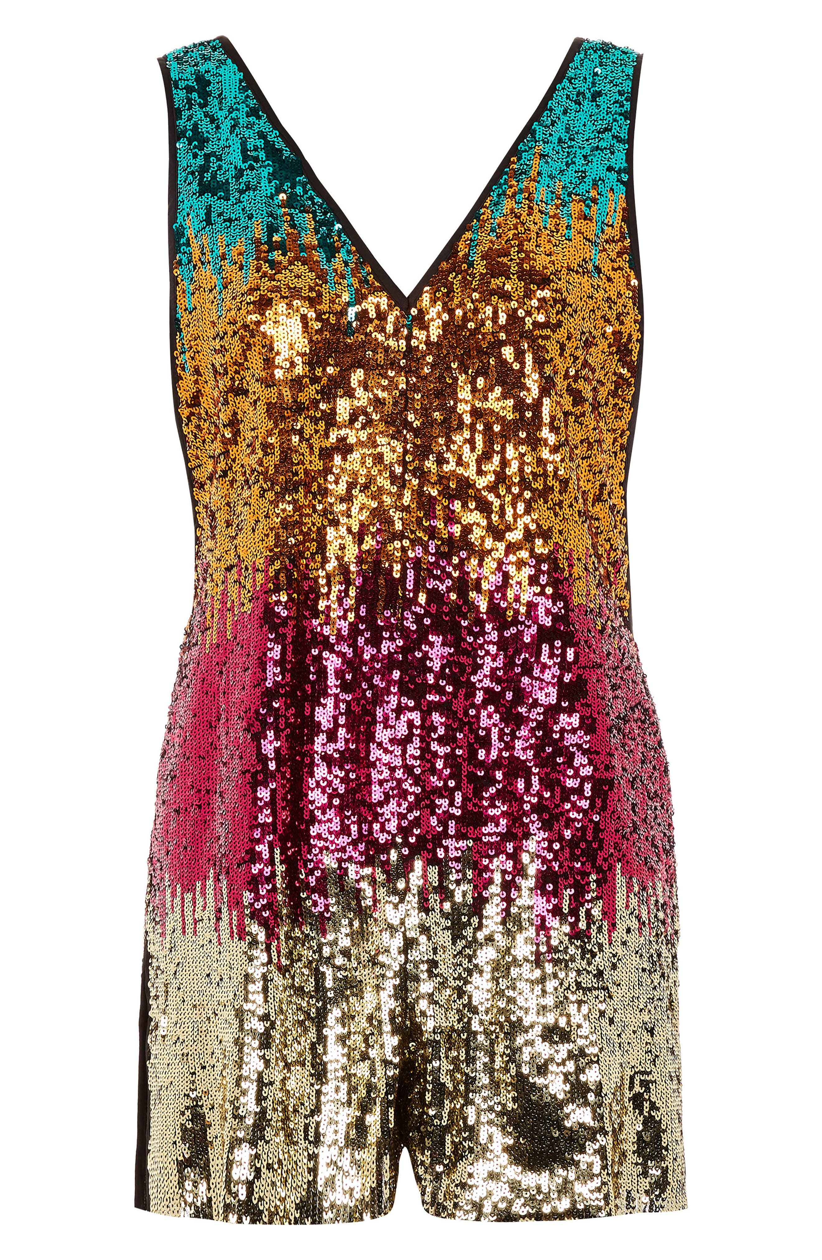 Festival Rocky Sequin Romper,                             Alternate thumbnail 4, color,                             Gold Multi
