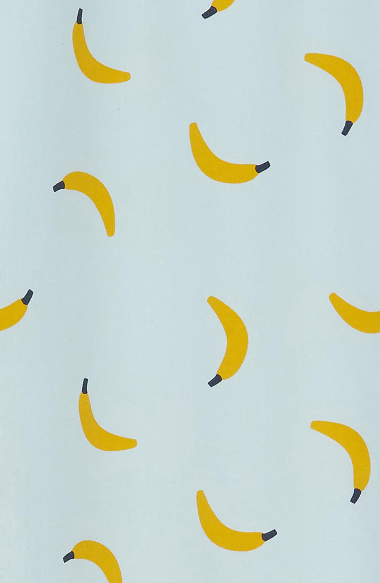 Banana Print Ruffle Sleeve Dress,                             Alternate thumbnail 3, color,                             Blue Pastel Bananas