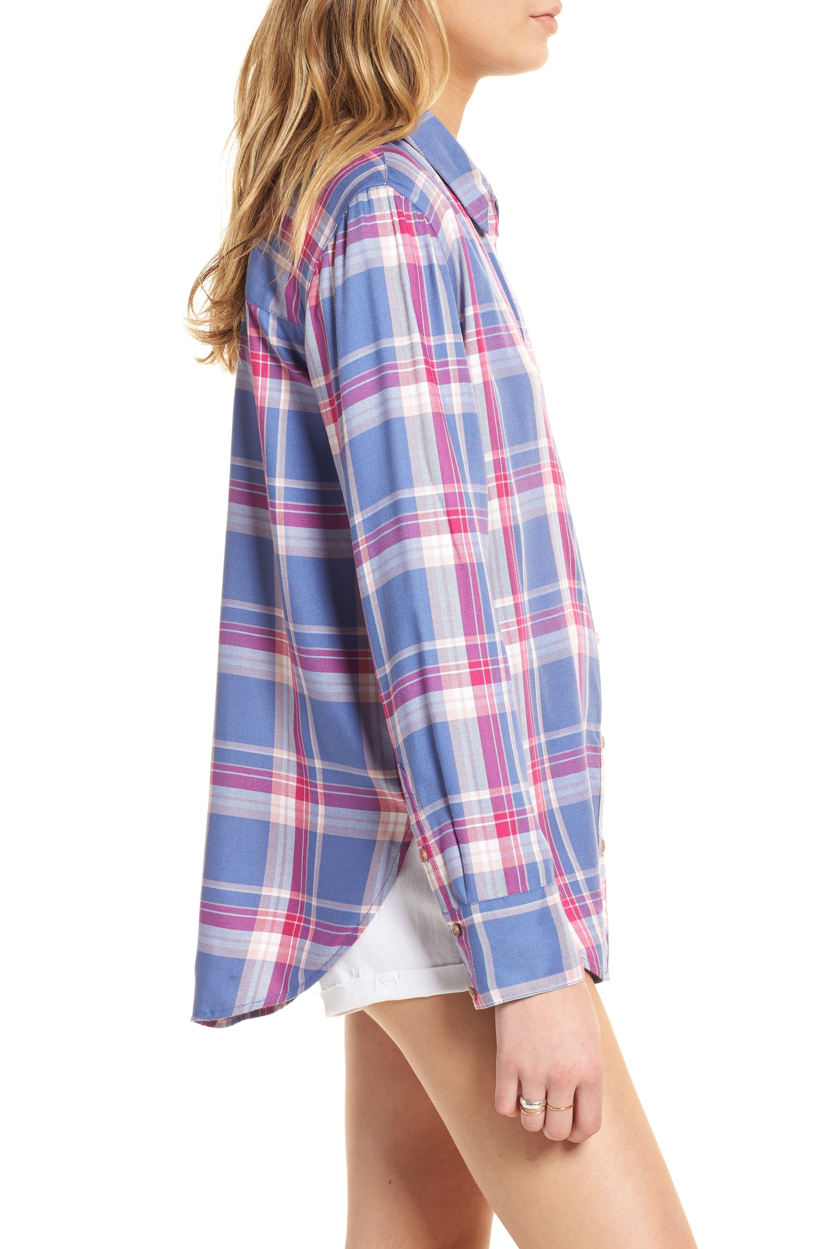 Plaid Boyfriend Shirt,                             Alternate thumbnail 3, color,                             Blue Denim Cube Plaid