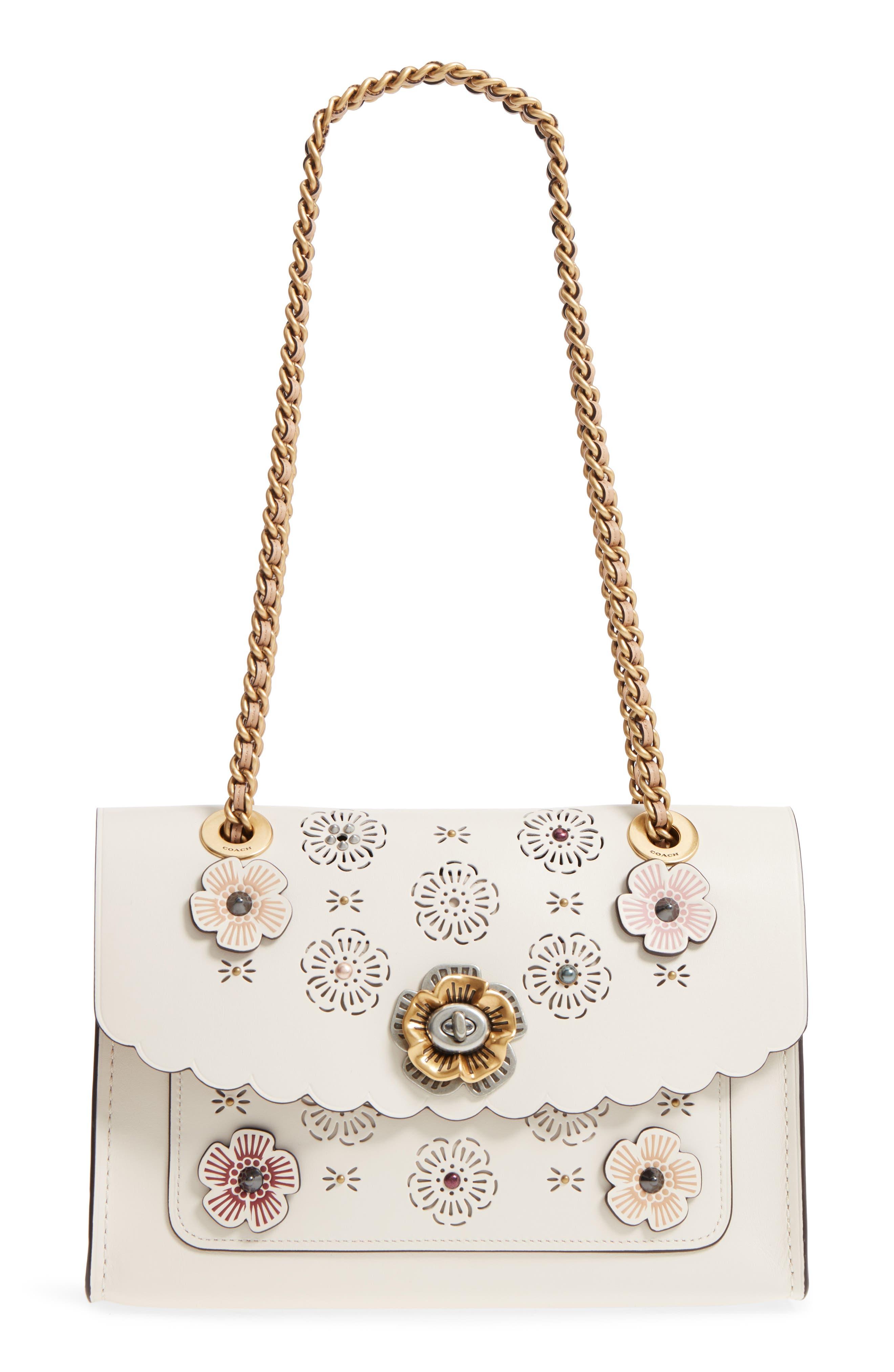 Parker Floral Embellished Leather Shoulder Bag,                             Main thumbnail 1, color,                             Chalk Multi