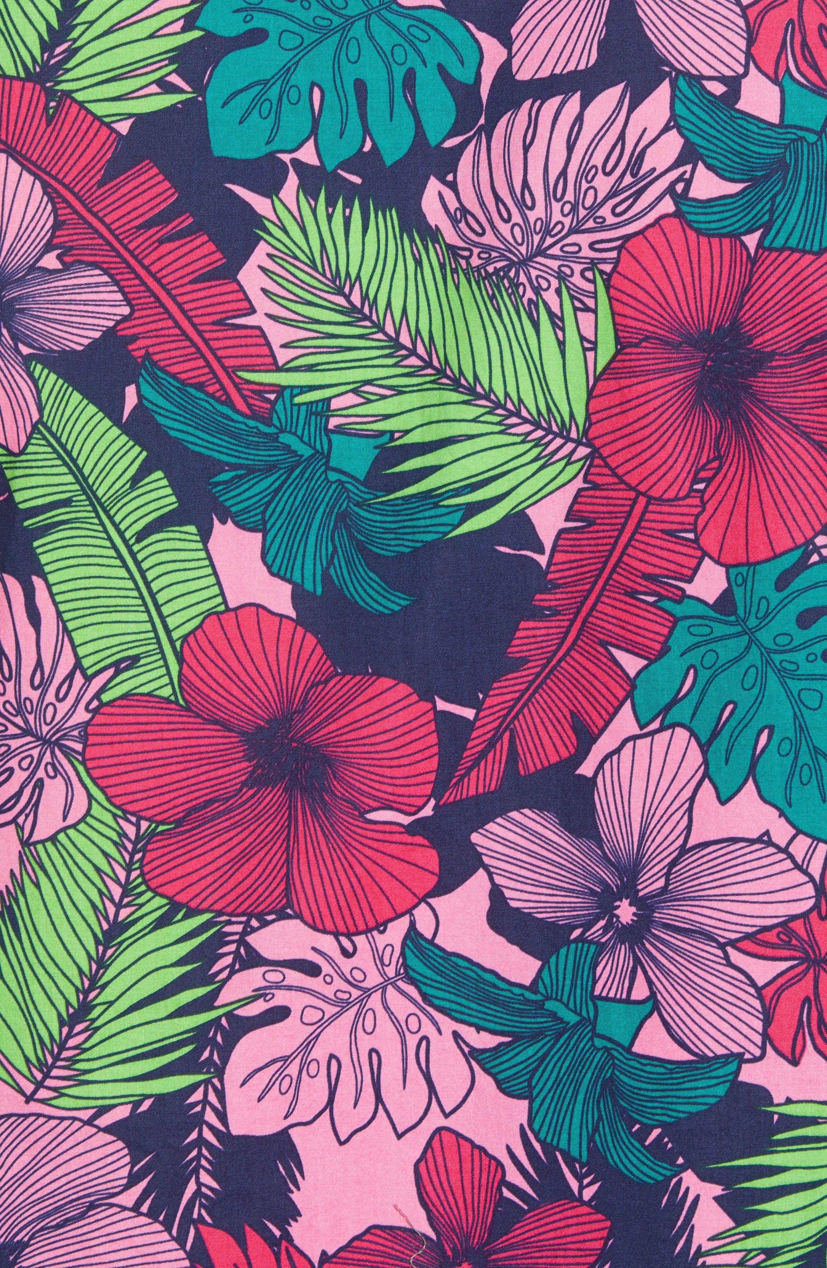 Slim Fit Floral Print Sport Shirt,                             Alternate thumbnail 5, color,                             Garden Cove - Pink Rocket