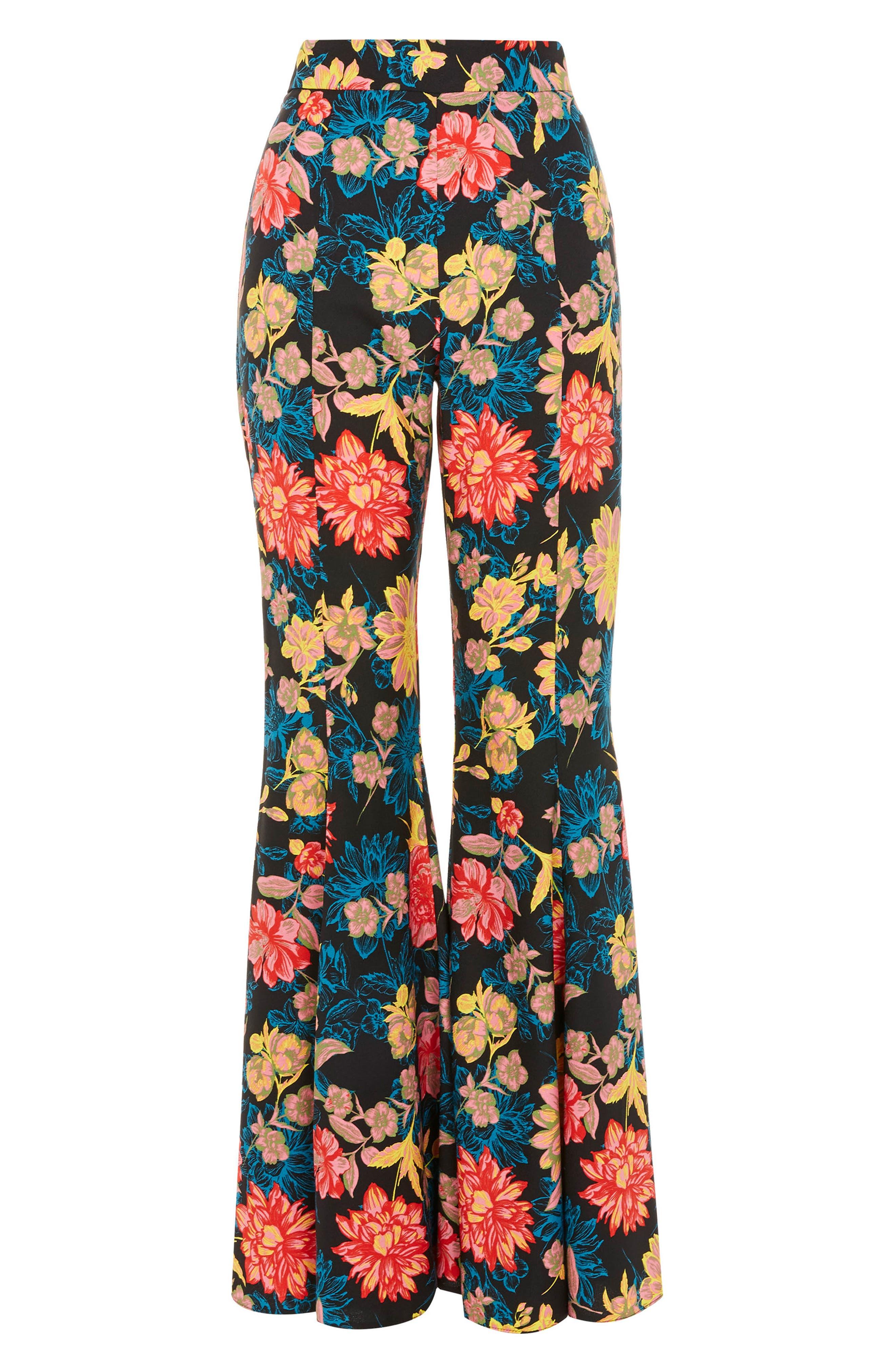 Alpha Floral Super Flare Trousers,                             Alternate thumbnail 4, color,                             Blue Multi