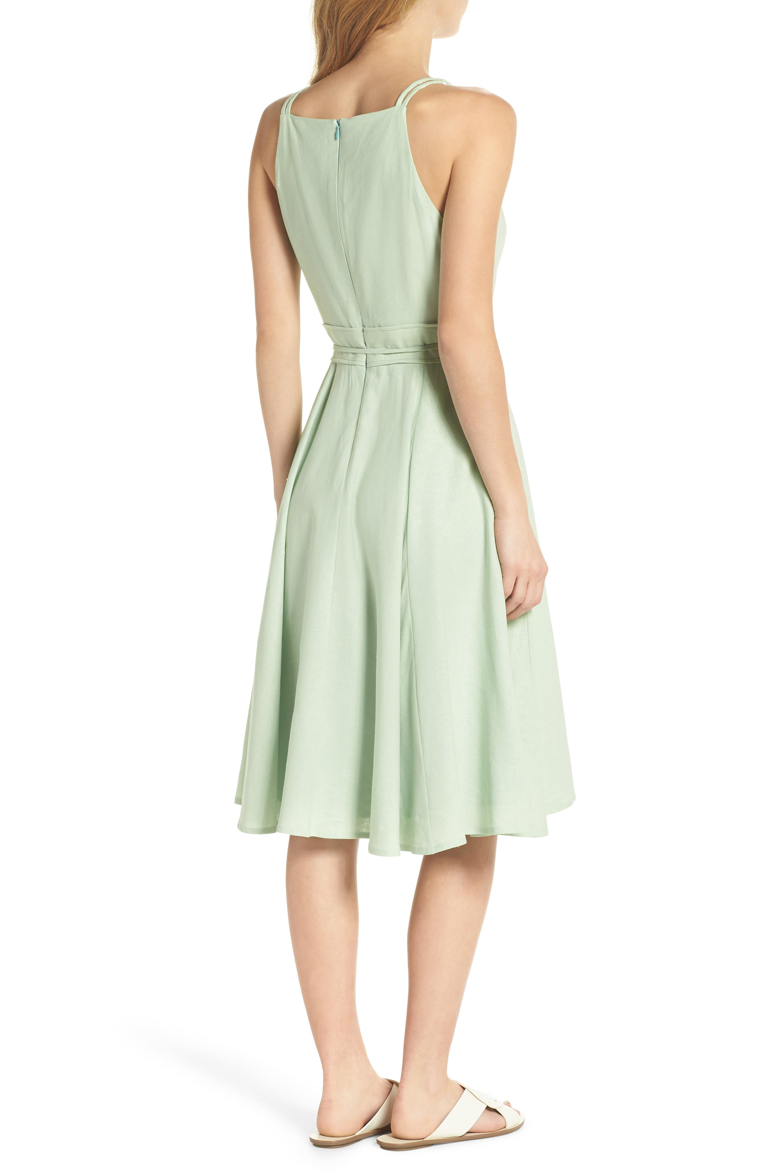 Caroline Linen Blend Fit & Flare Dress,                             Alternate thumbnail 3, color,                             Mint Leaf