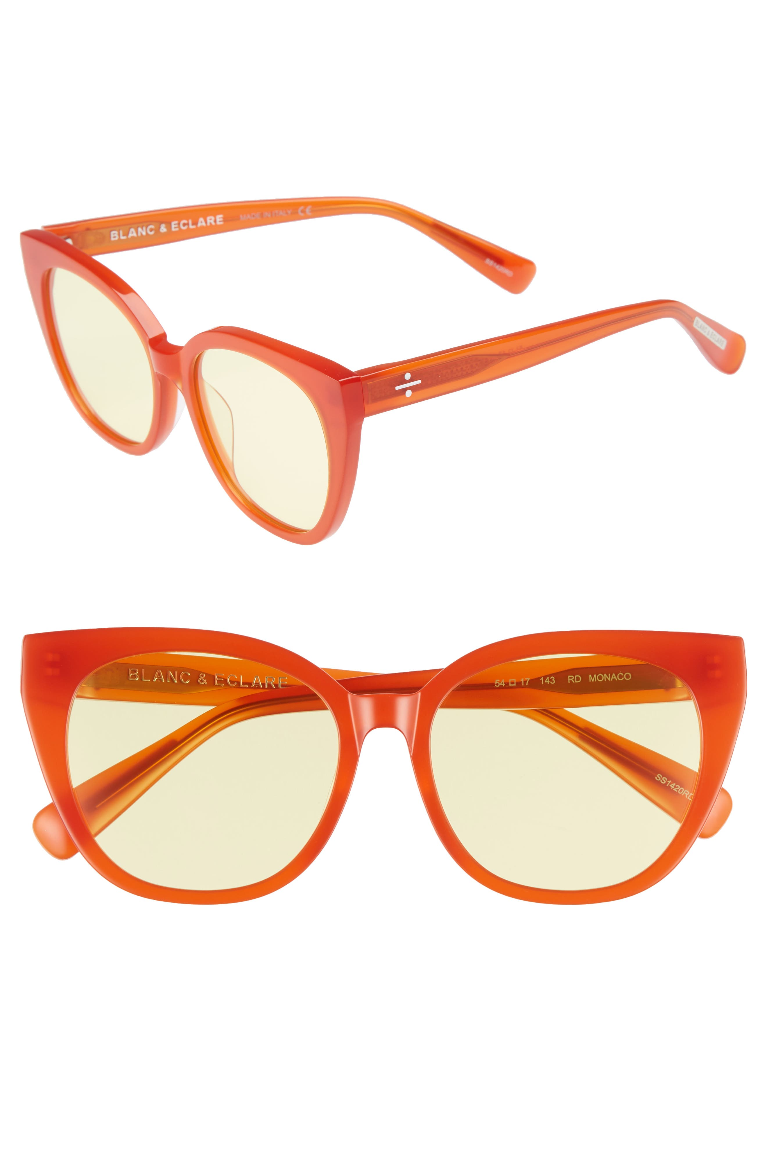 BLANC & ECLARE Monaco 54mm Polarized Cat Eye Sunglasses,                         Main,                         color, Lipstick Red/ Yellow Tint