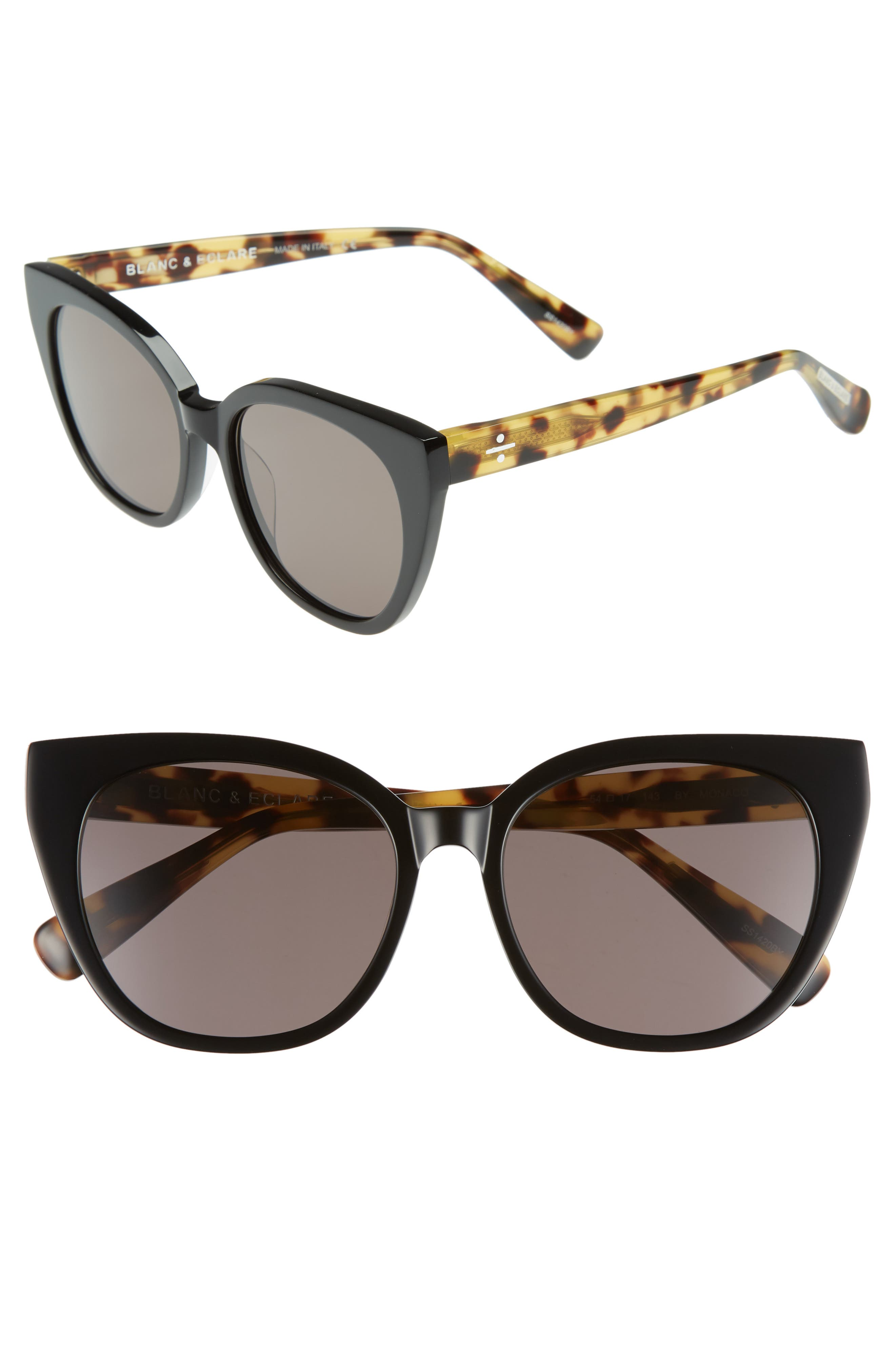 BLANC & ECLARE Monaco 54mm Cat Eye Sunglasses,                             Main thumbnail 1, color,                             Black/ Lemon Tortoise/ Grey