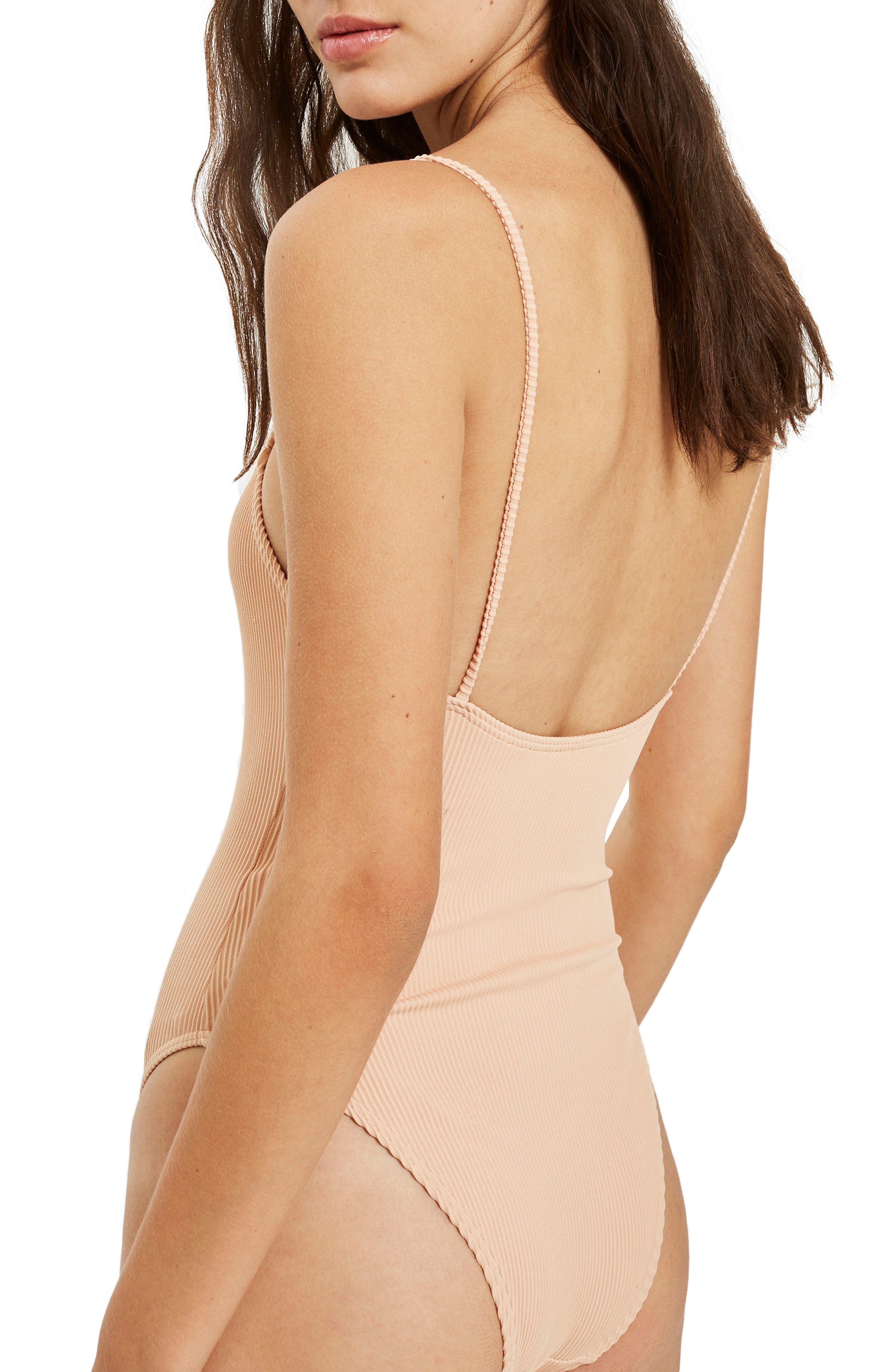 Alternate Image 2  - Topshop Straight Neck Rib One-Piece Swimsuit