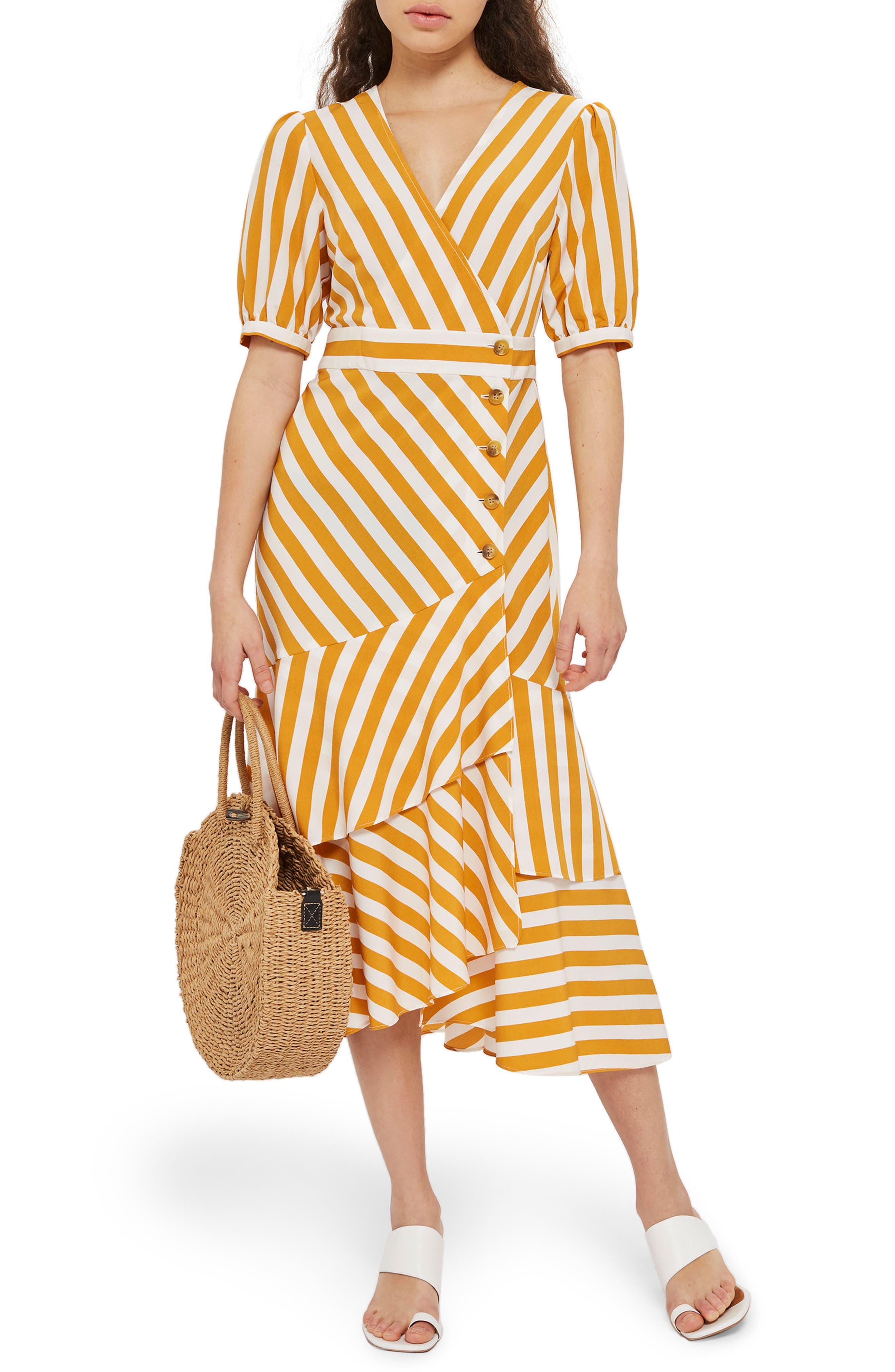 Cutabout Stripe Ruffle Midi Dress,                         Main,                         color, Yellow Multi