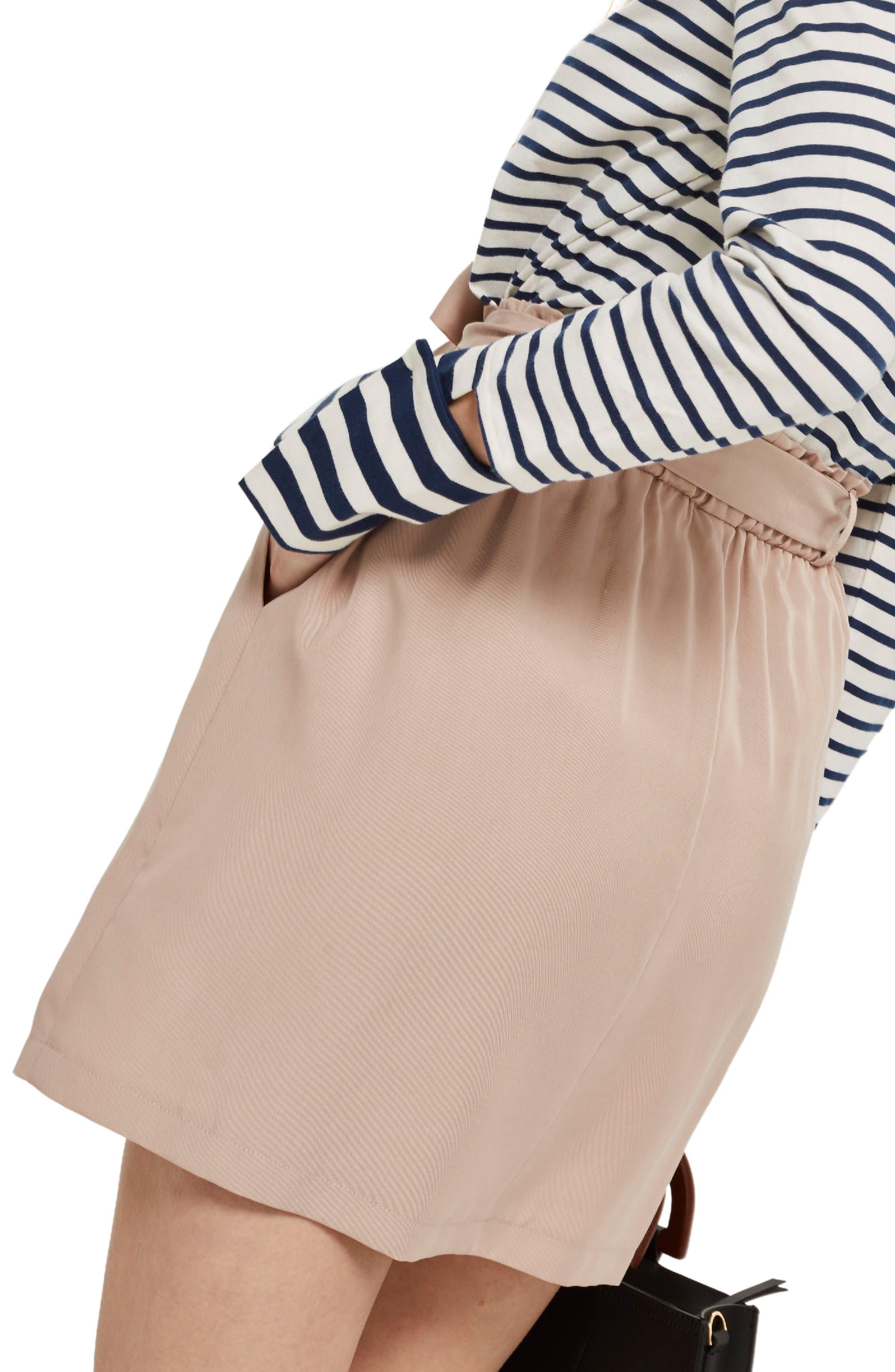 Paperbag Tie Miniskirt,                             Alternate thumbnail 2, color,                             Blush