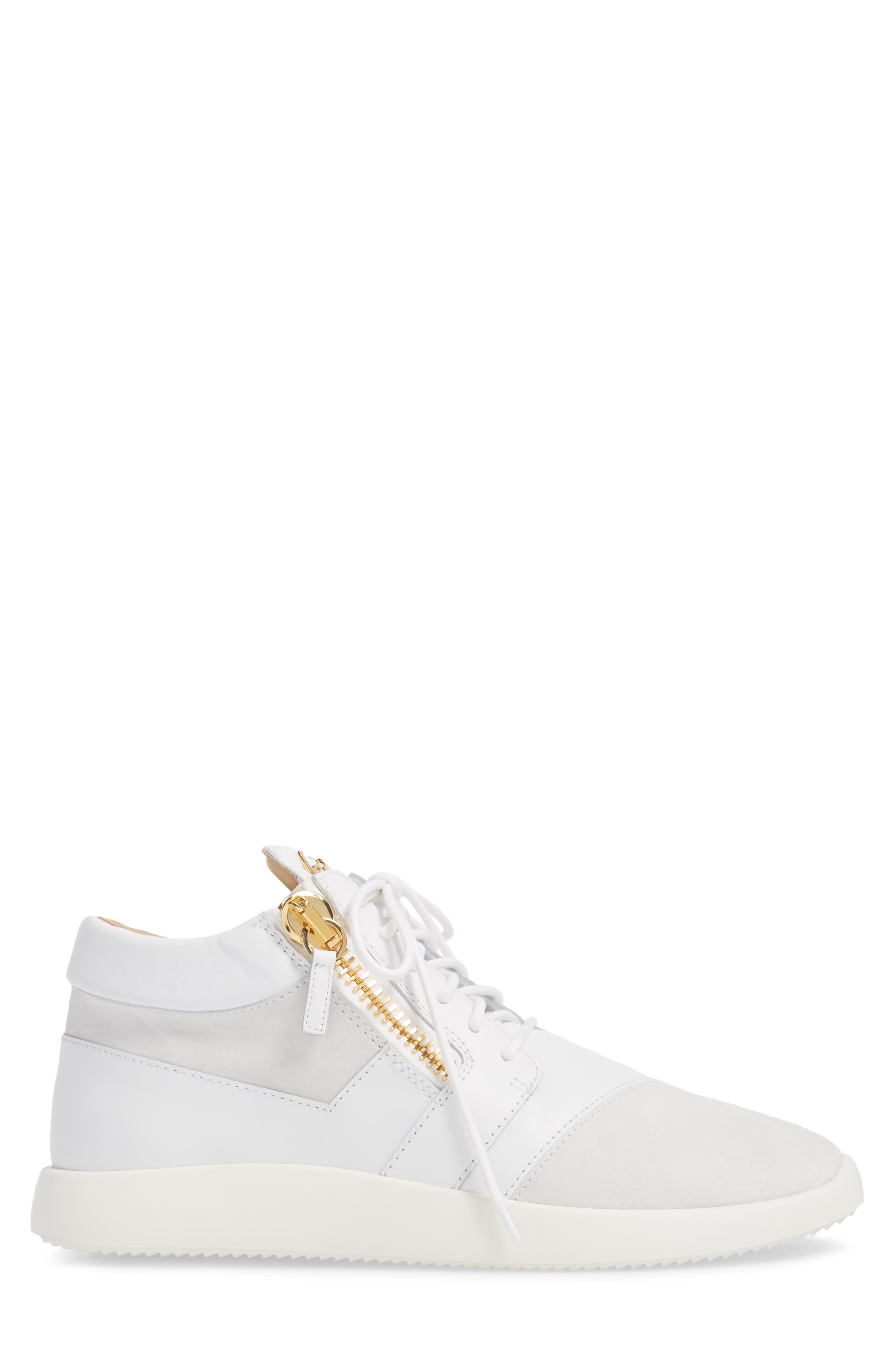 Double Zip Trainer Sneaker,                             Alternate thumbnail 3, color,                             Bianco