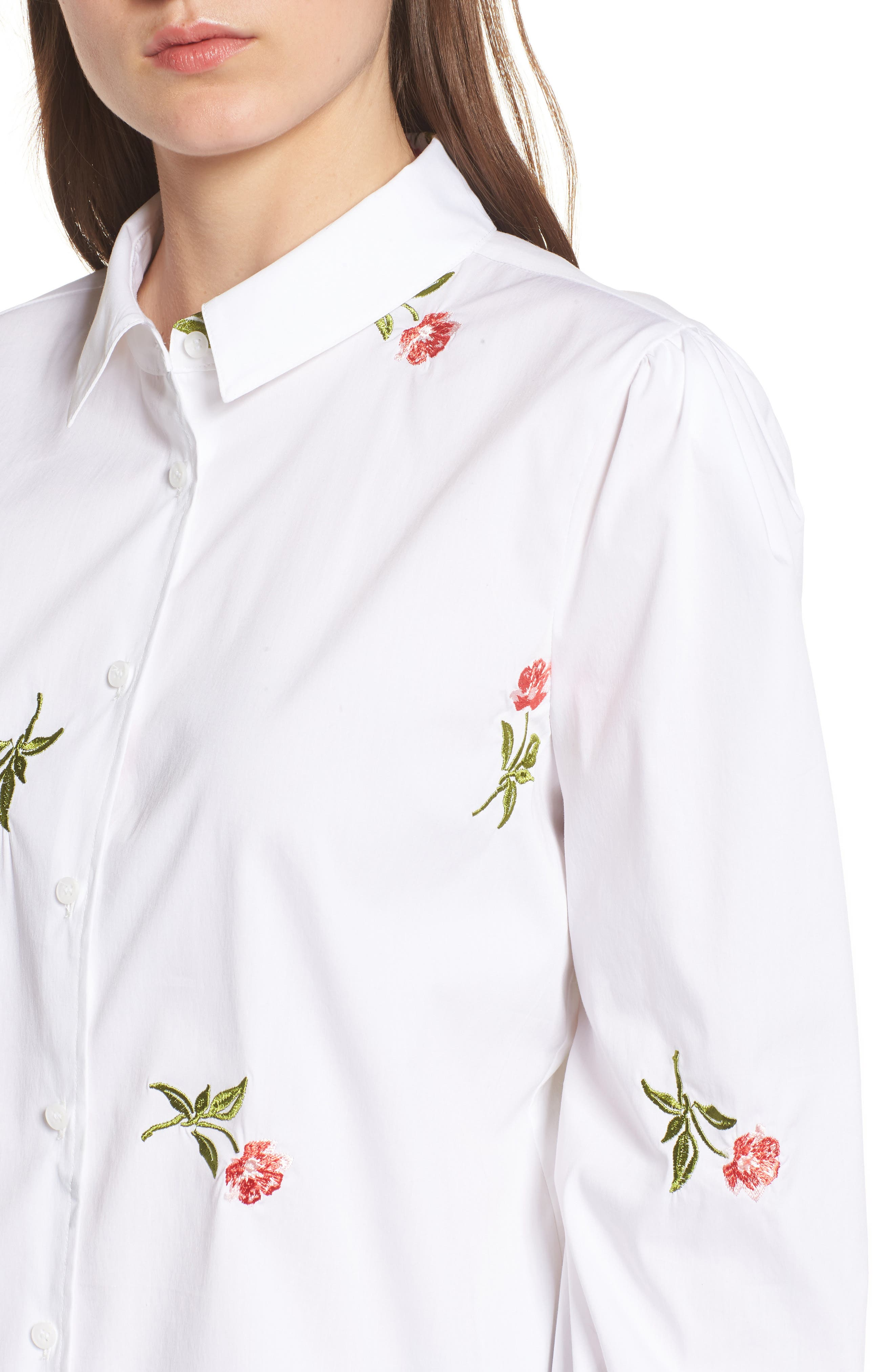 Embroidered Woven Shirt,                             Alternate thumbnail 4, color,                             White- Coral Bud Embroidery