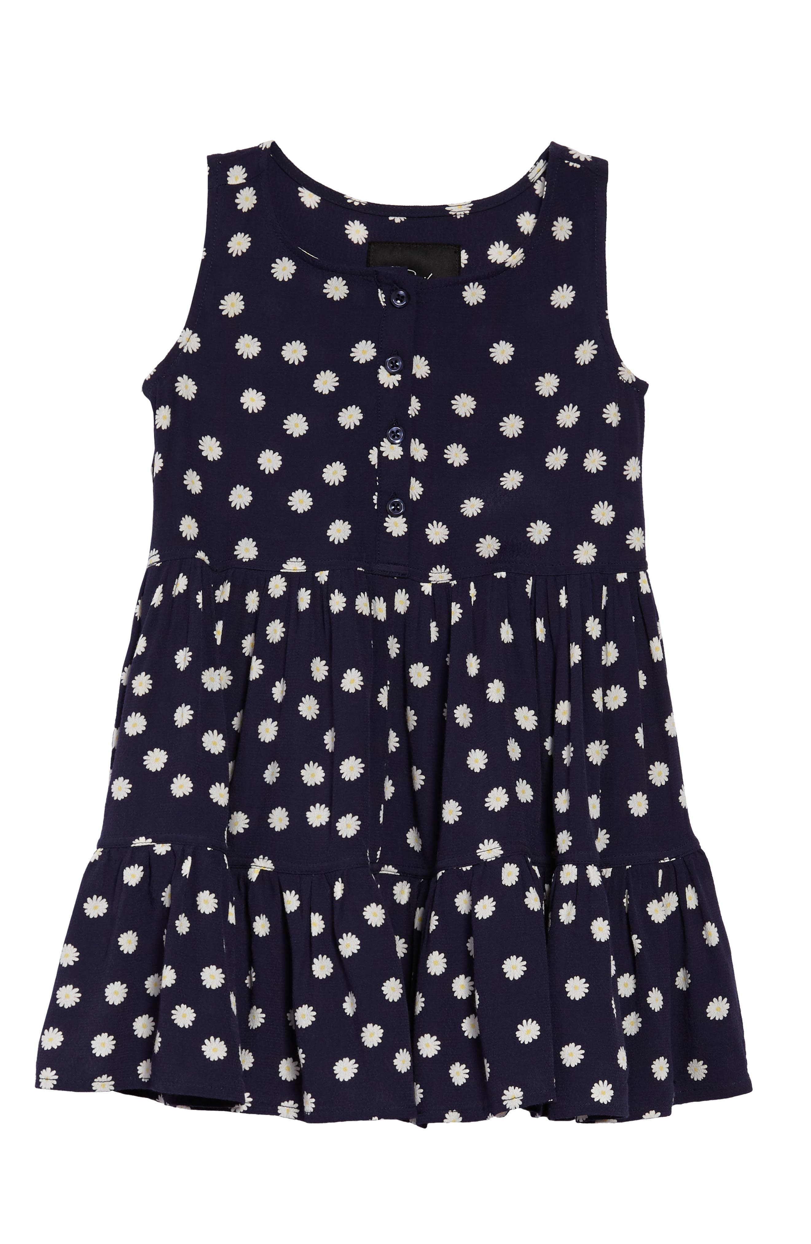 Katie Tiered Dress,                         Main,                         color, Navy Daisies
