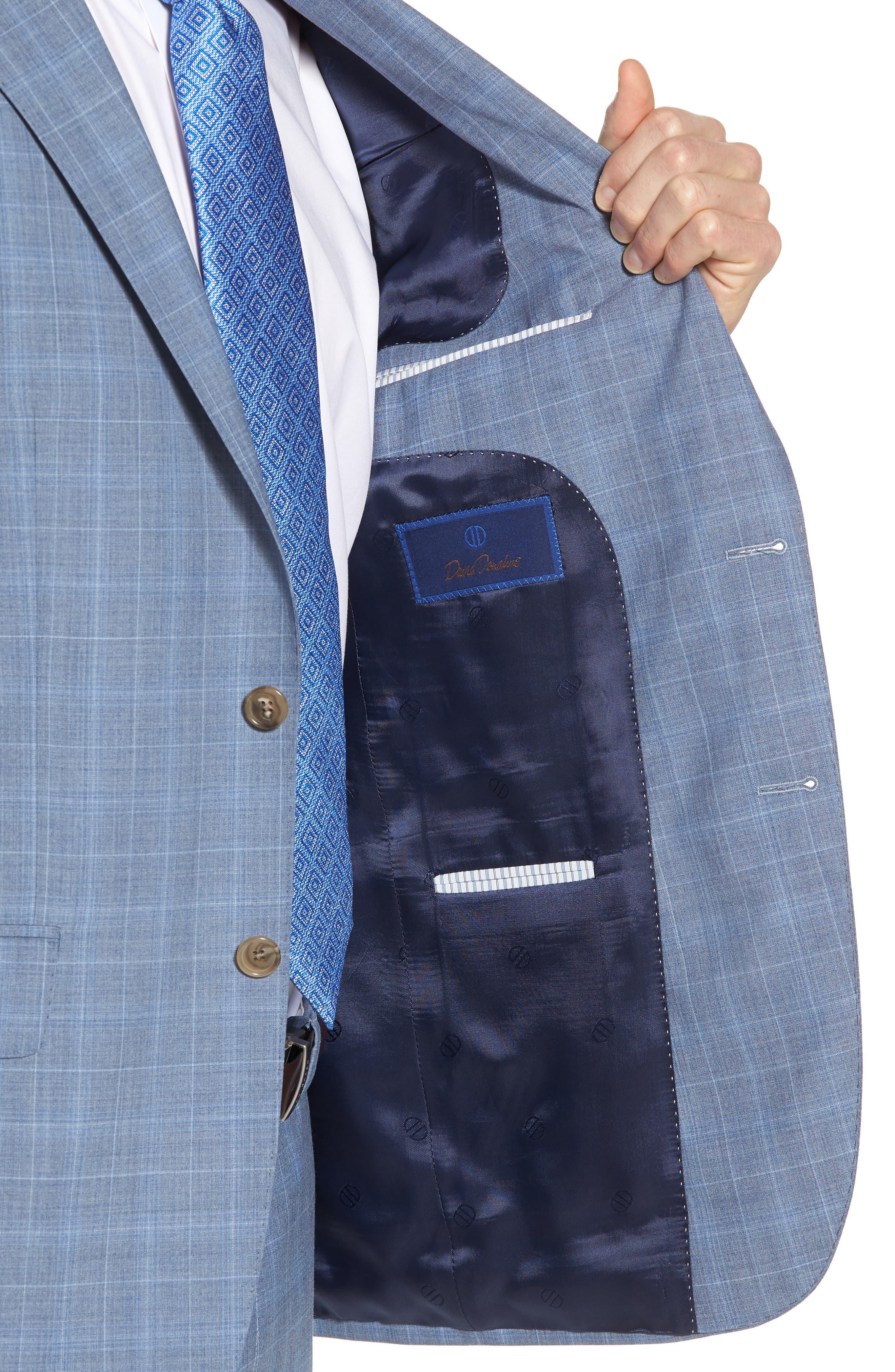 Ryan Classic Fit Plaid Wool Suit,                             Alternate thumbnail 4, color,                             Blue